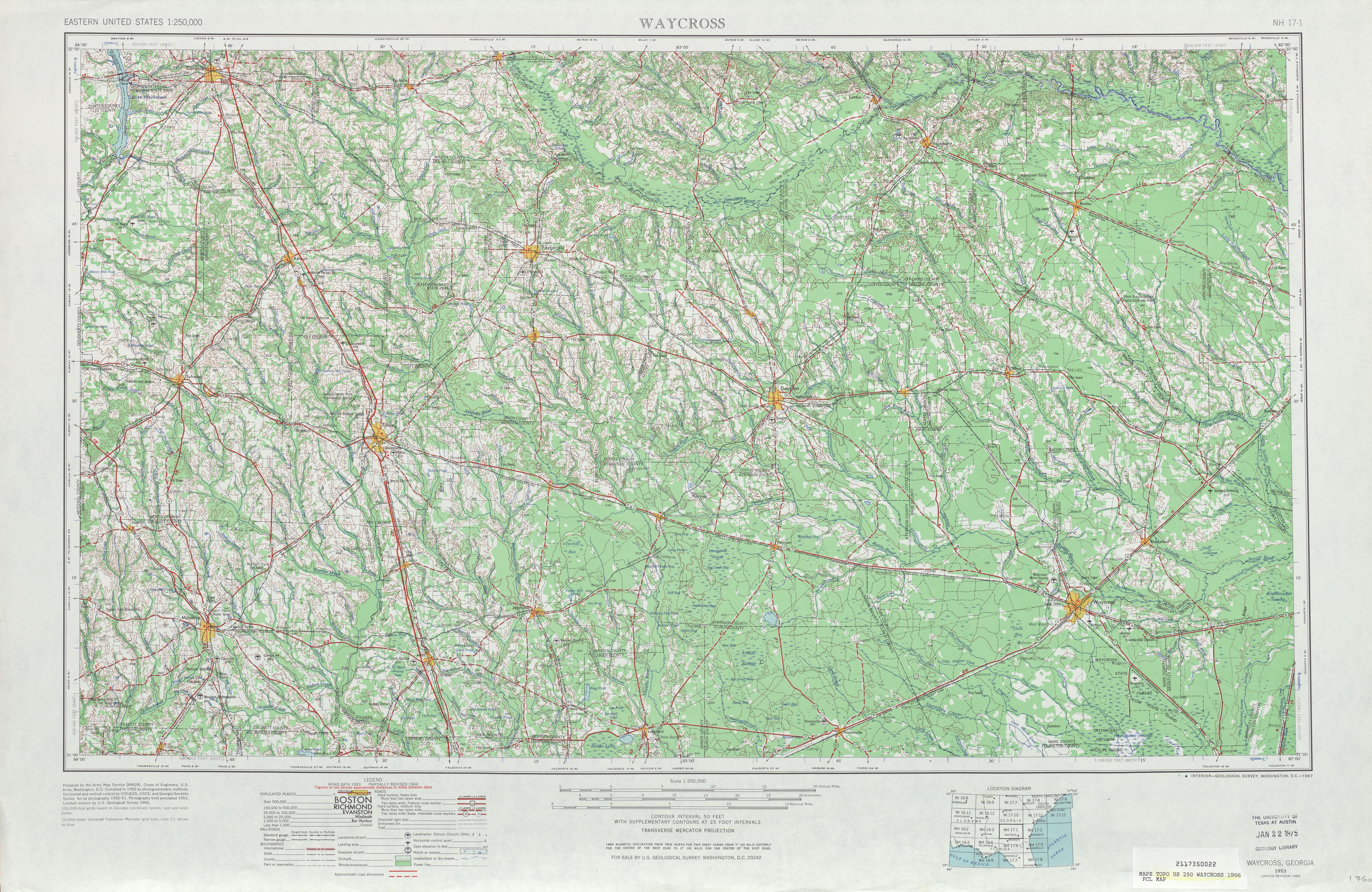 Hoja Waycross del Mapa Topográfico de los Estados Unidos 1966