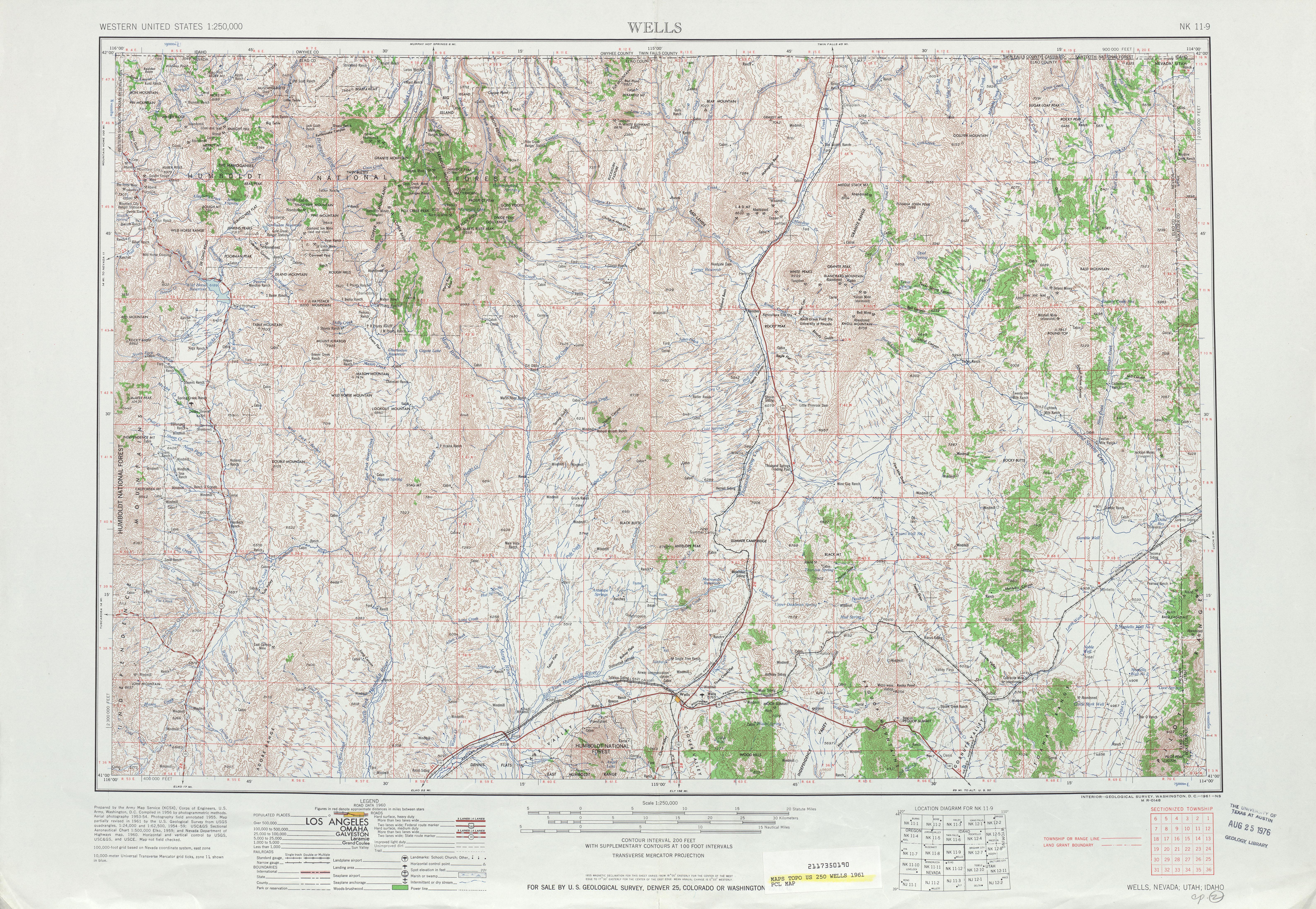 Hoja Wells del Mapa Topográfico de los Estados Unidos 1961