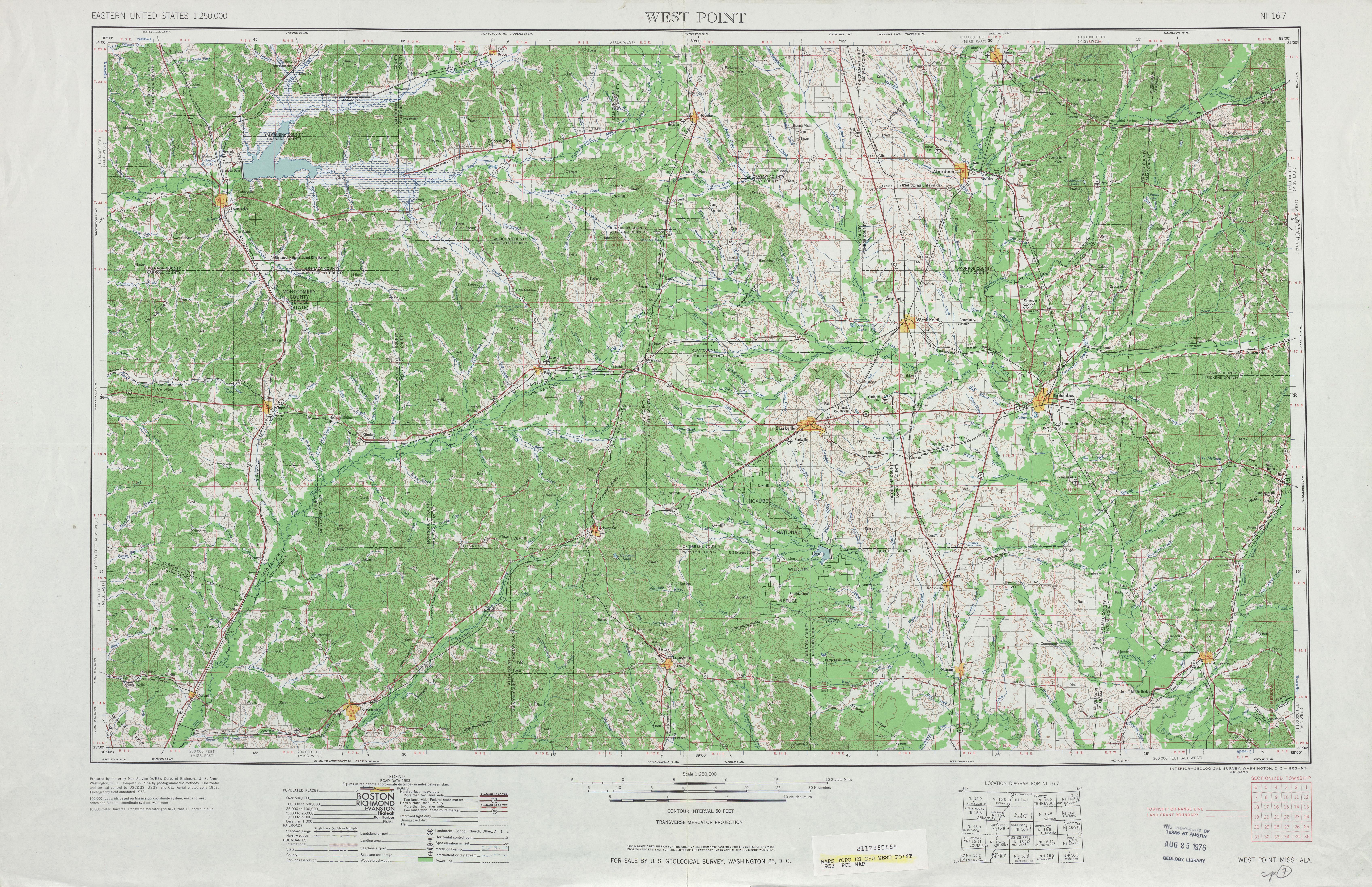 Hoja West Point del Mapa Topográfico de los Estados Unidos 1953