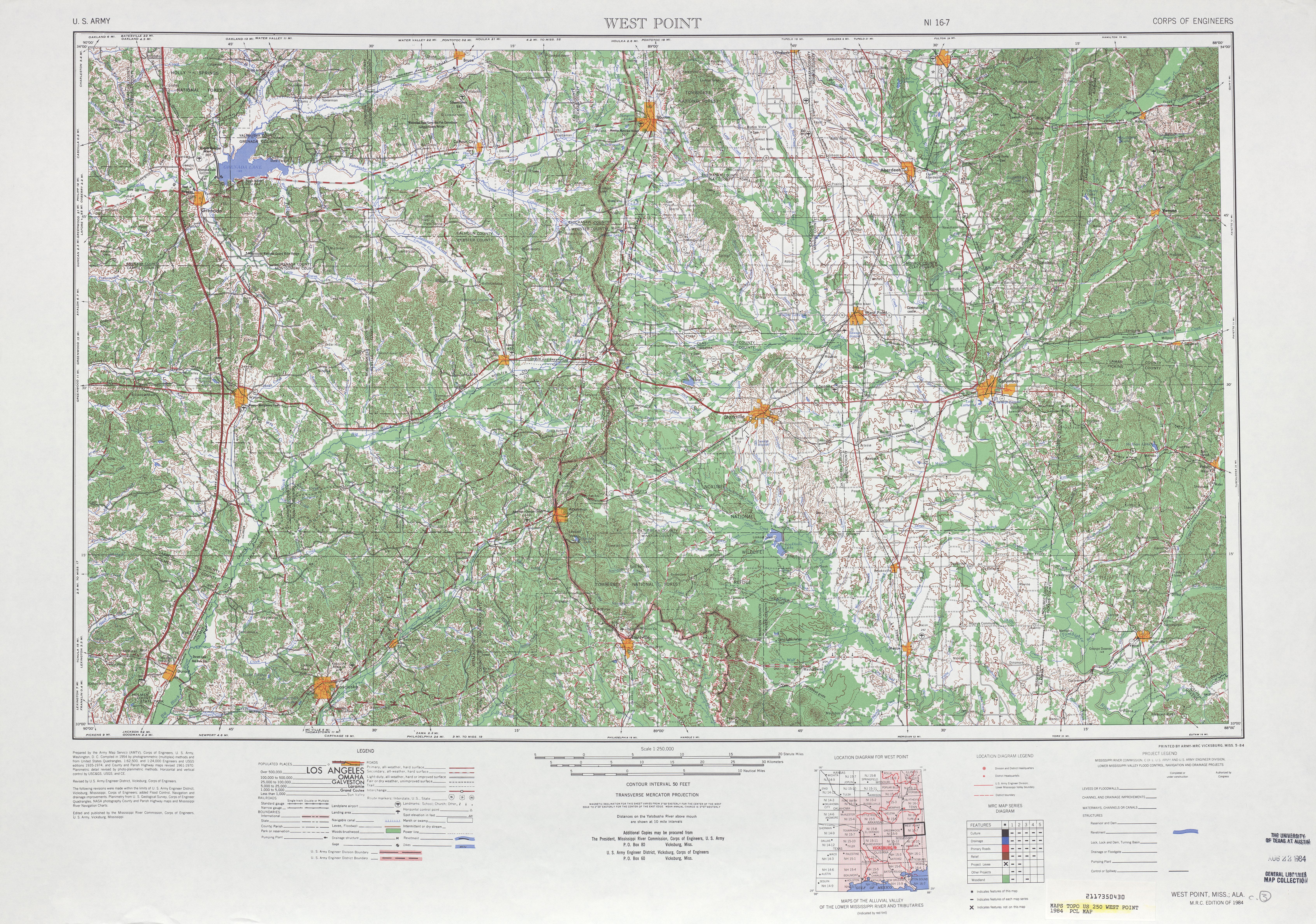 Hoja West Point del Mapa Topográfico de los Estados Unidos 1984