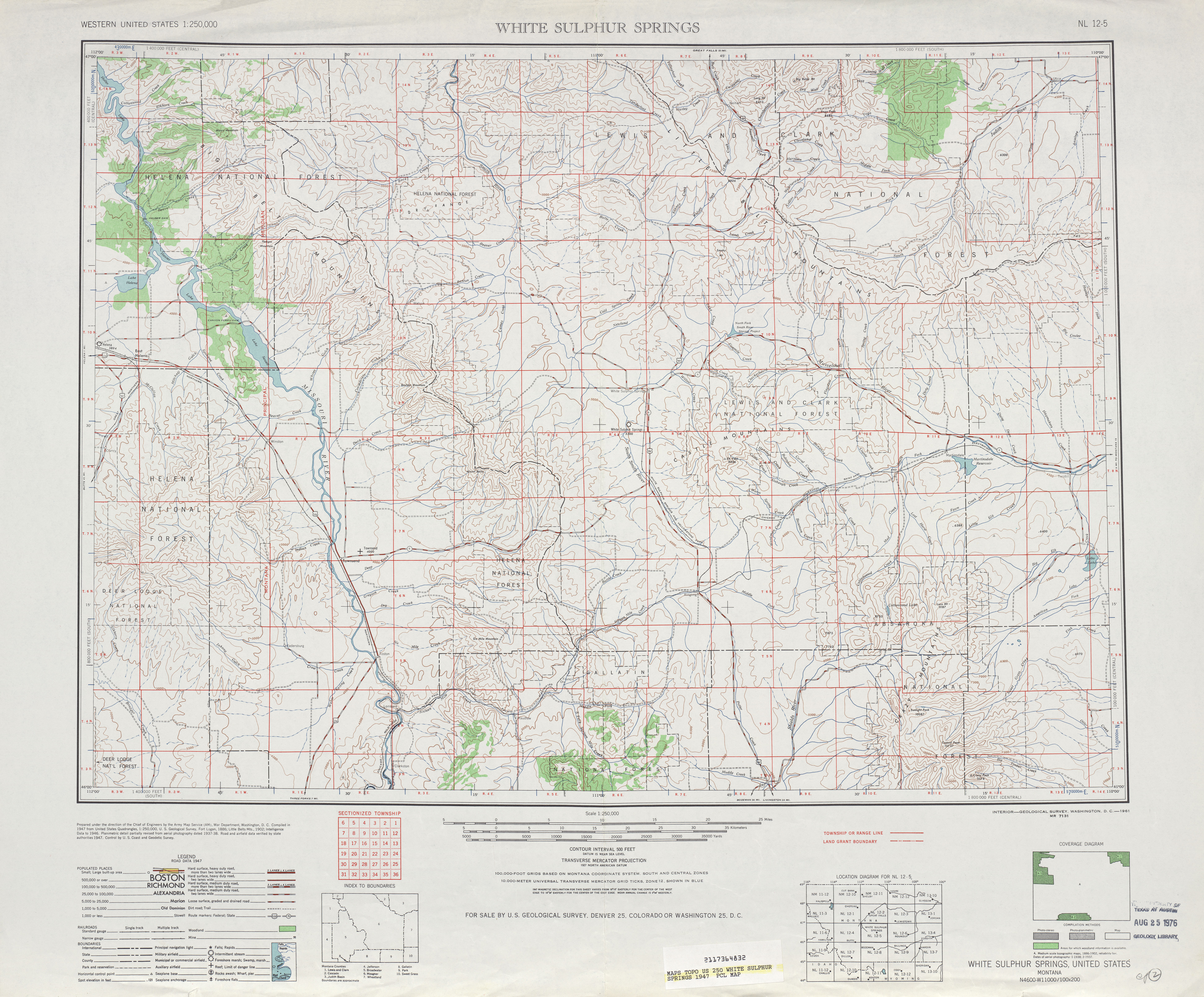 White Sulphur Springs Topographic Map Sheet, United States 1947