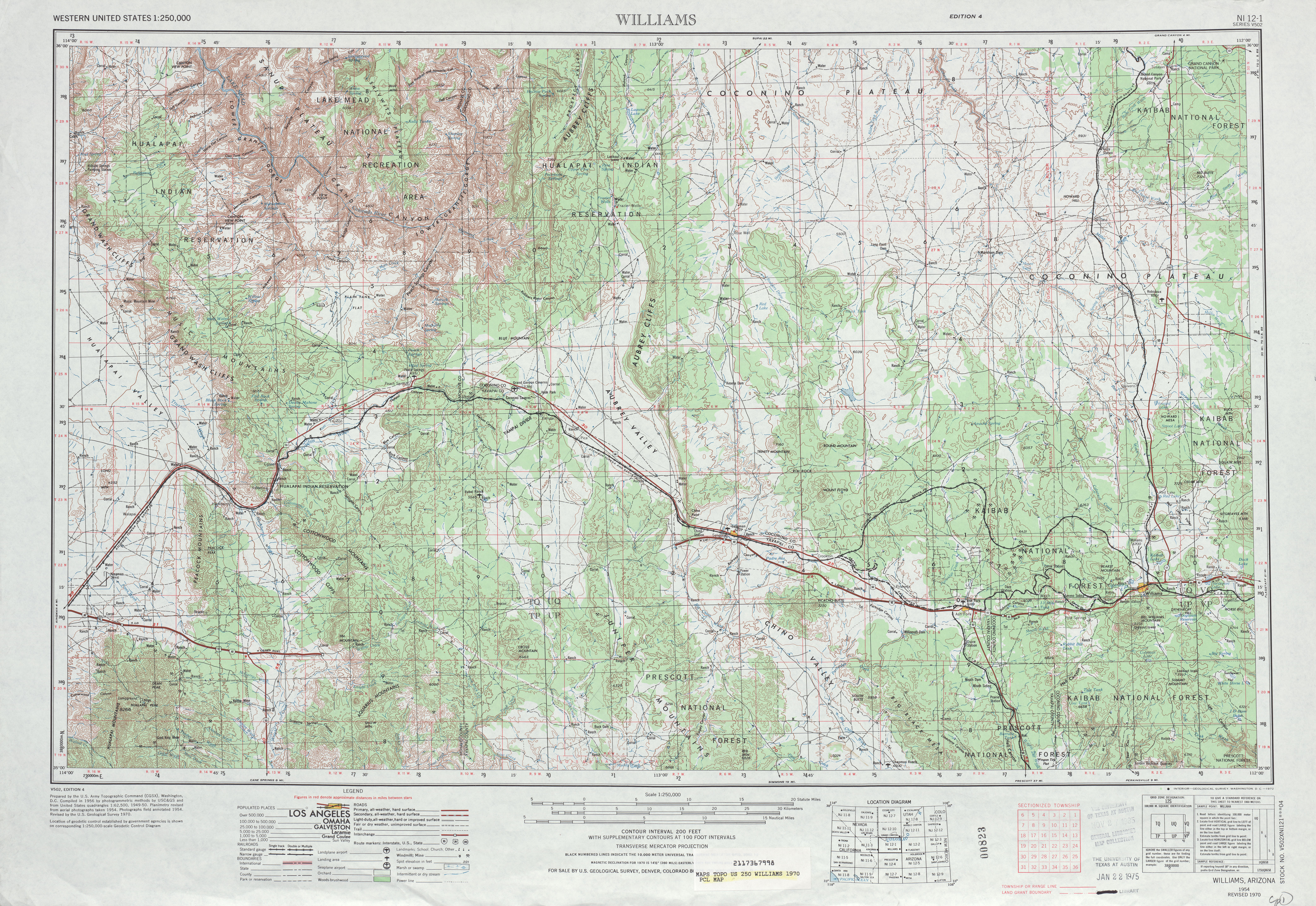 Williams Topographic Map Sheet, United States 1970