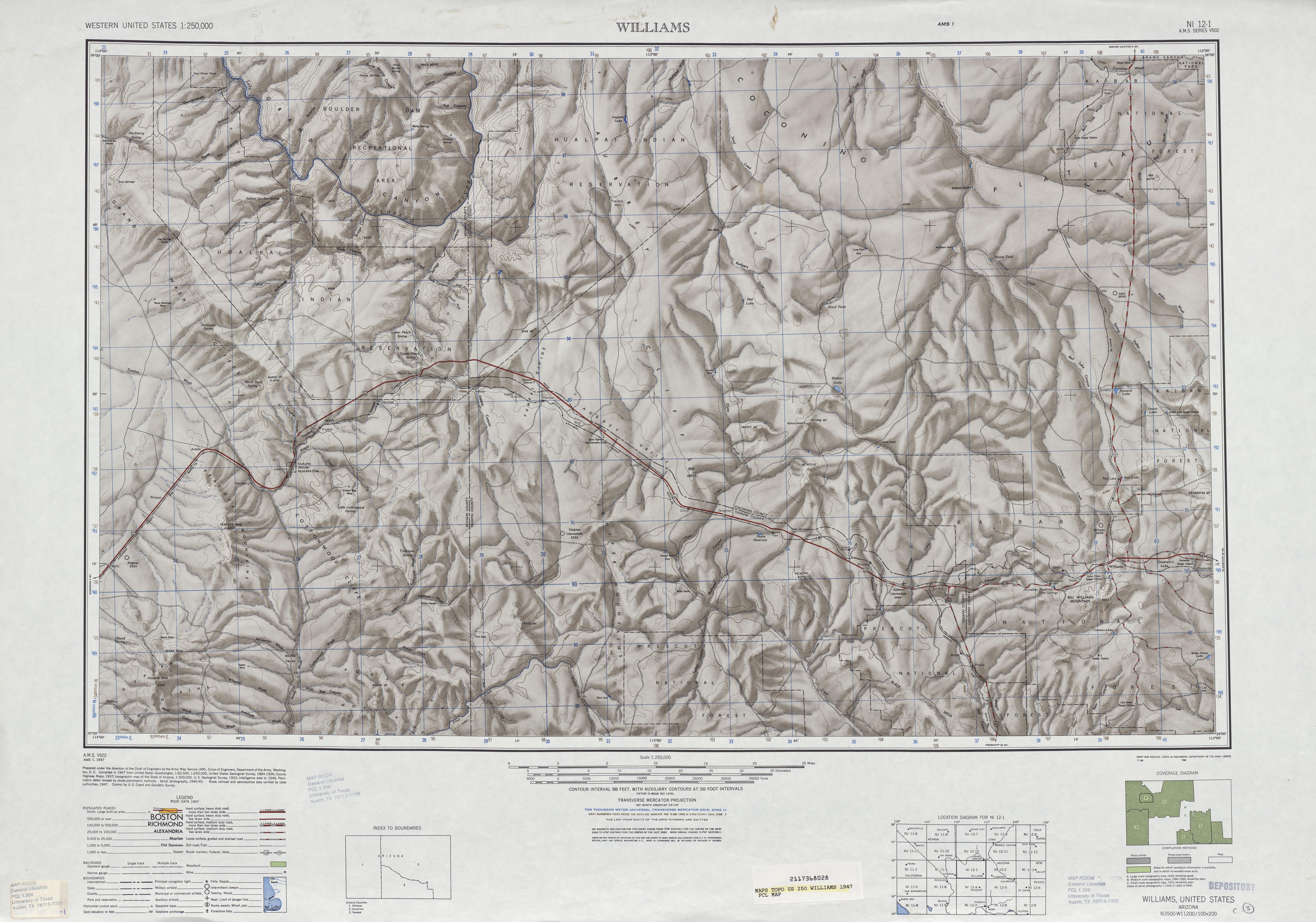 Hoja Williams del Mapa de Relieve Sombreado de los Estados Unidos 1947