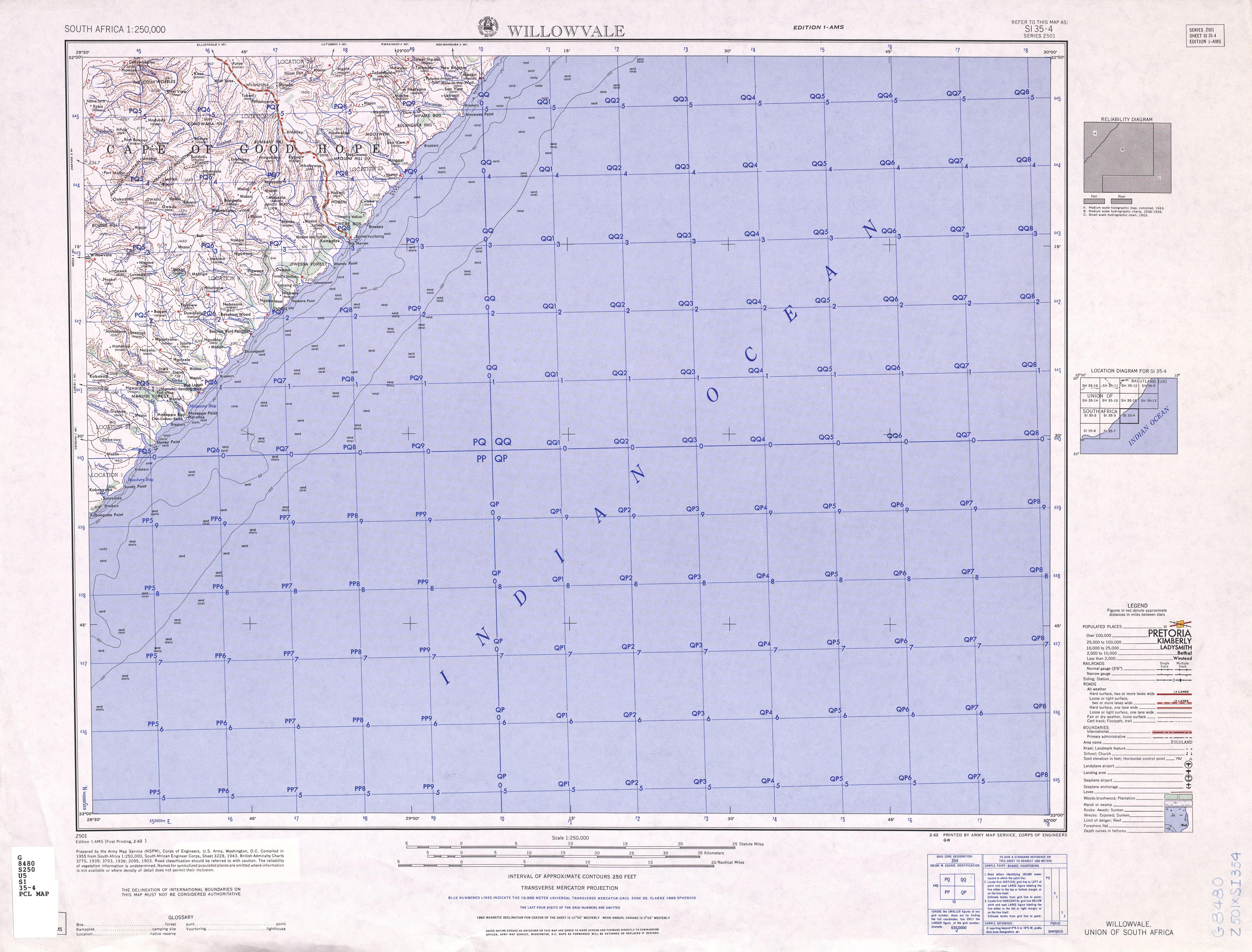 Hoja Willowvale del Mapa Topográfico de África Meridional 1954