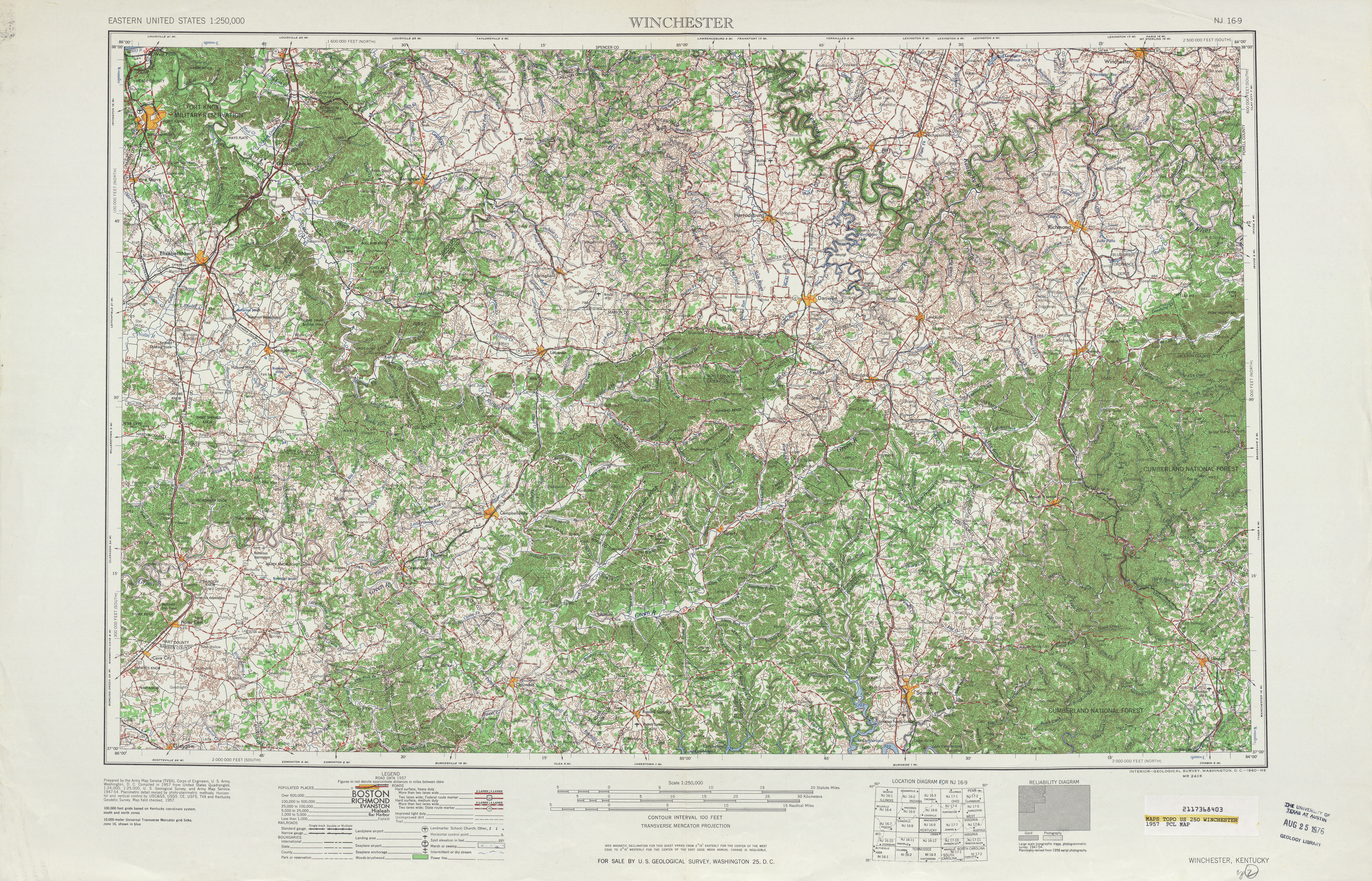 Winchester Topographic Map Sheet, United States 1957