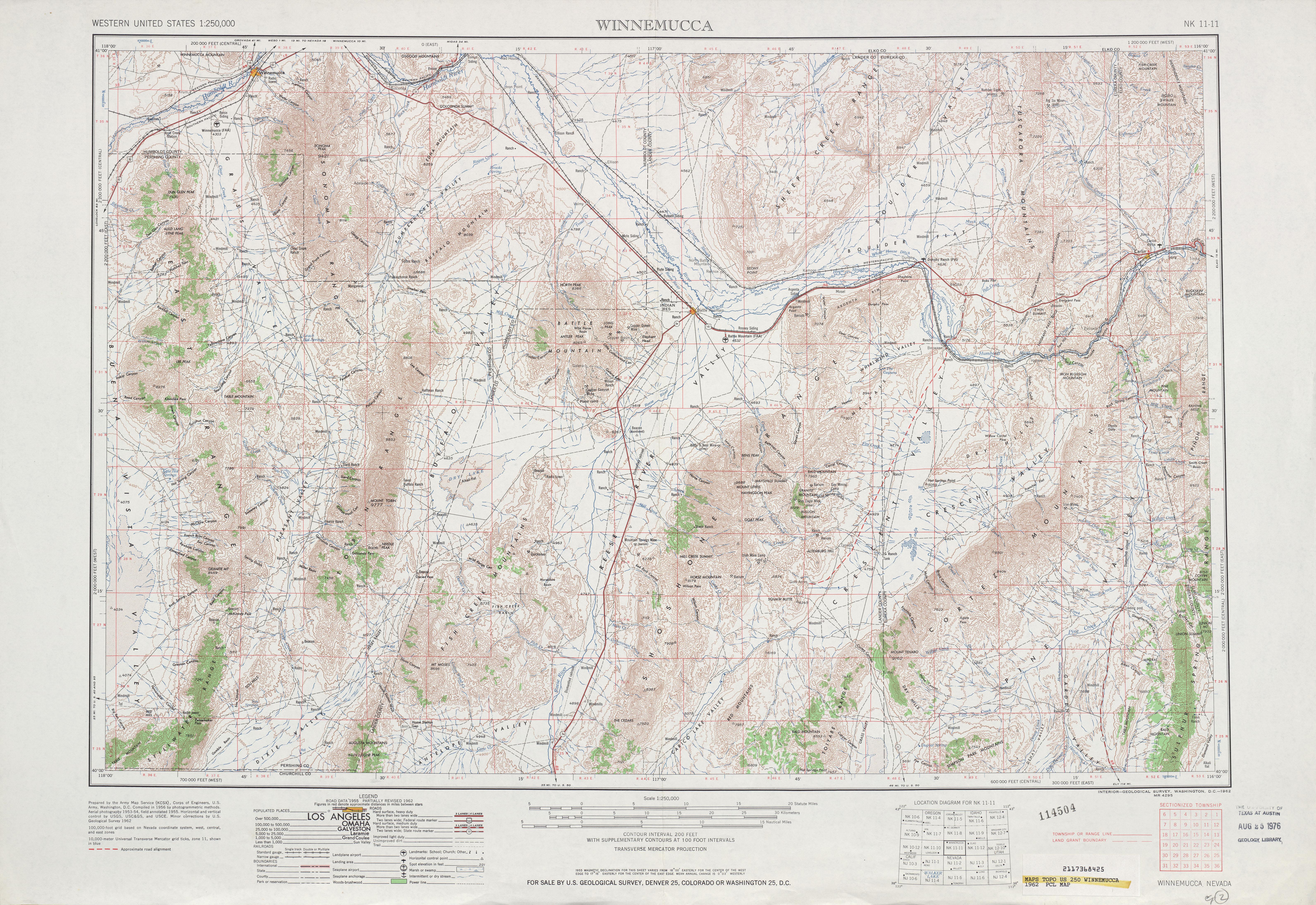 Hoja Winnemucca del Mapa Topográfico de los Estados Unidos 1962