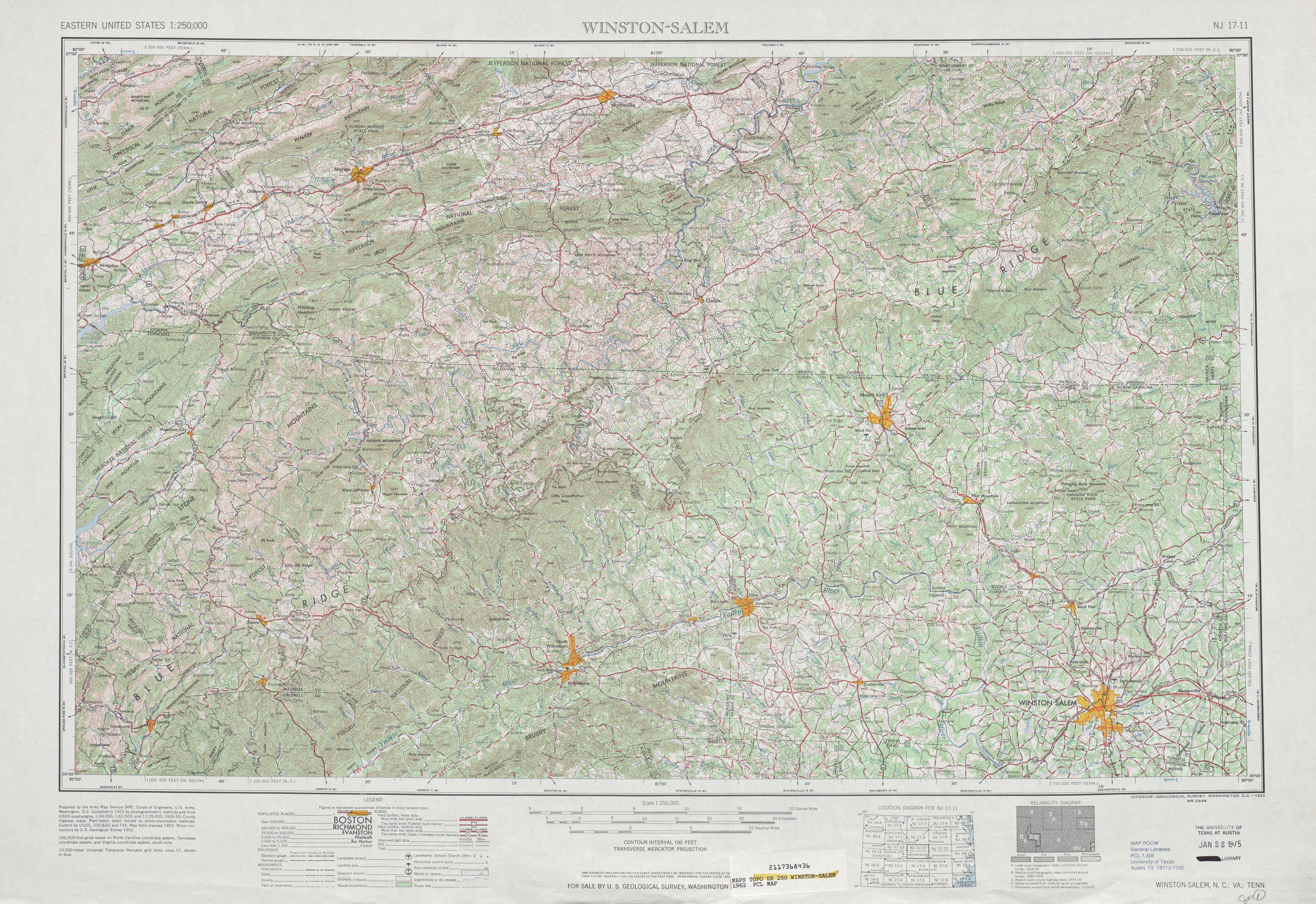 Hoja Winston Salem del Mapa Topográfico de los Estados Unidos 1962