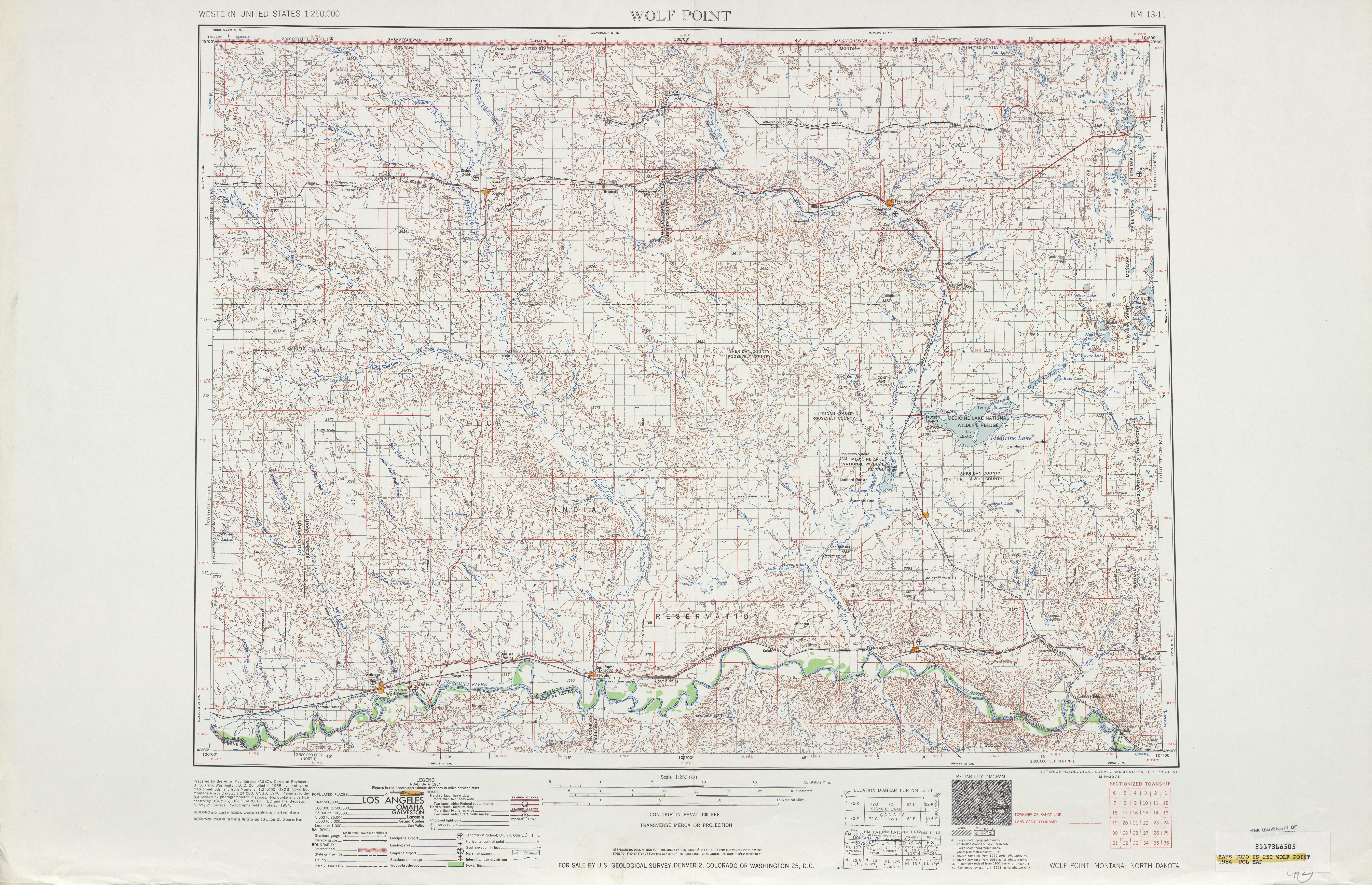 Hoja Wolf Point del Mapa Topográfico de los Estados Unidos 1954
