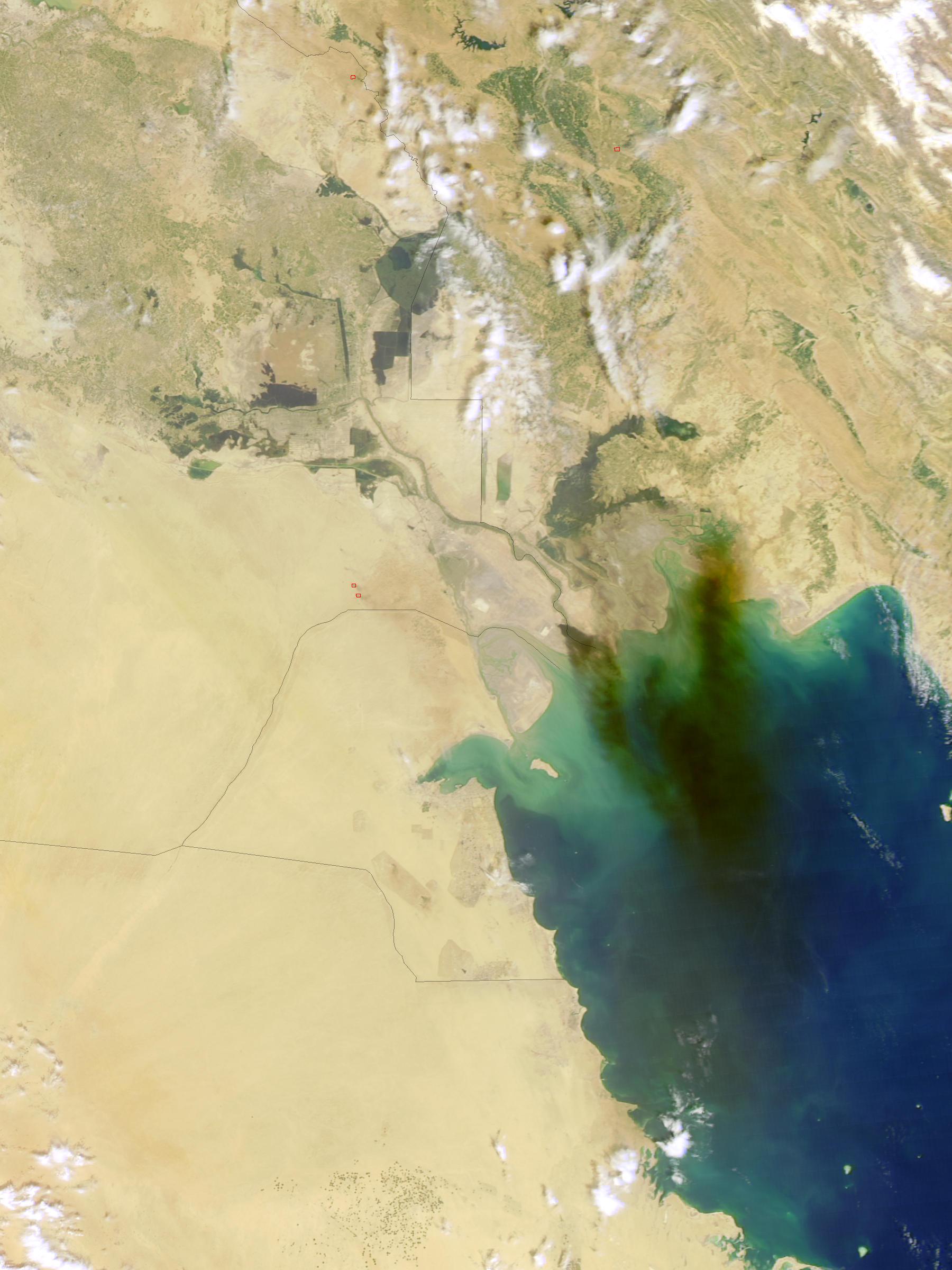Humo del incendio de un oleoducto en Iraq meridional (seguimiento satelital de la tarde)