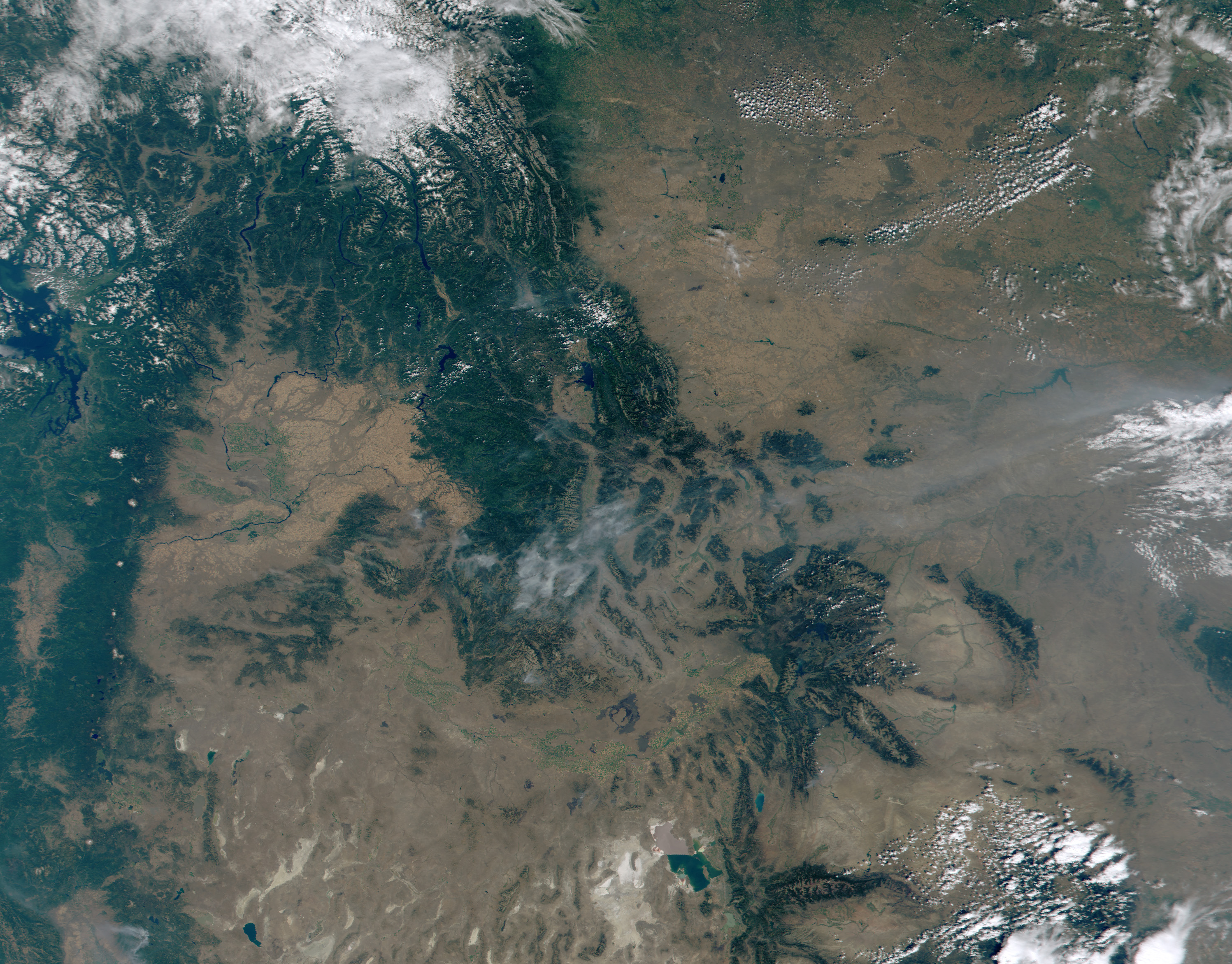 Smoke in the Bitterroot Mountains from MODIS