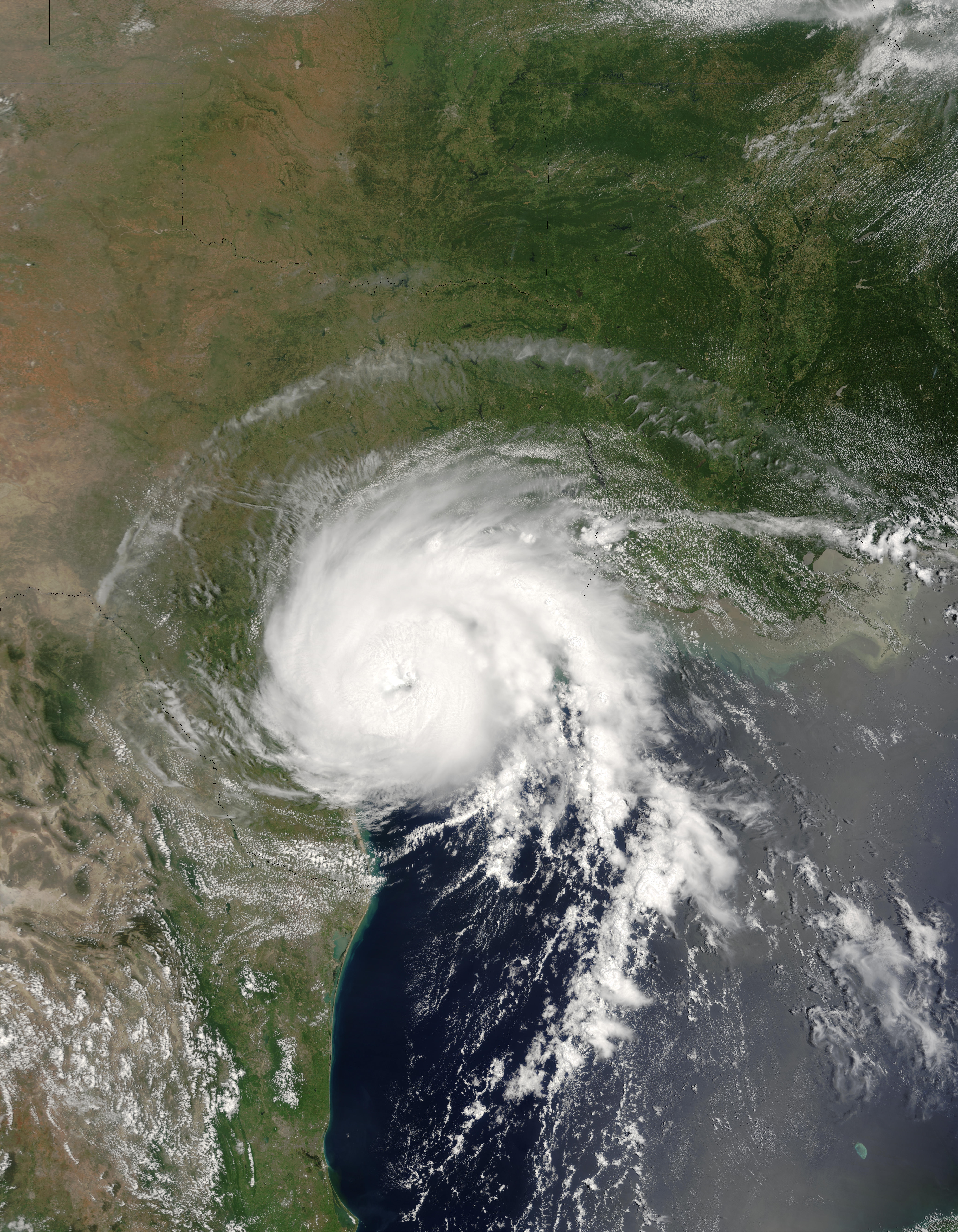 Hurricane Claudette over the coast of Texas