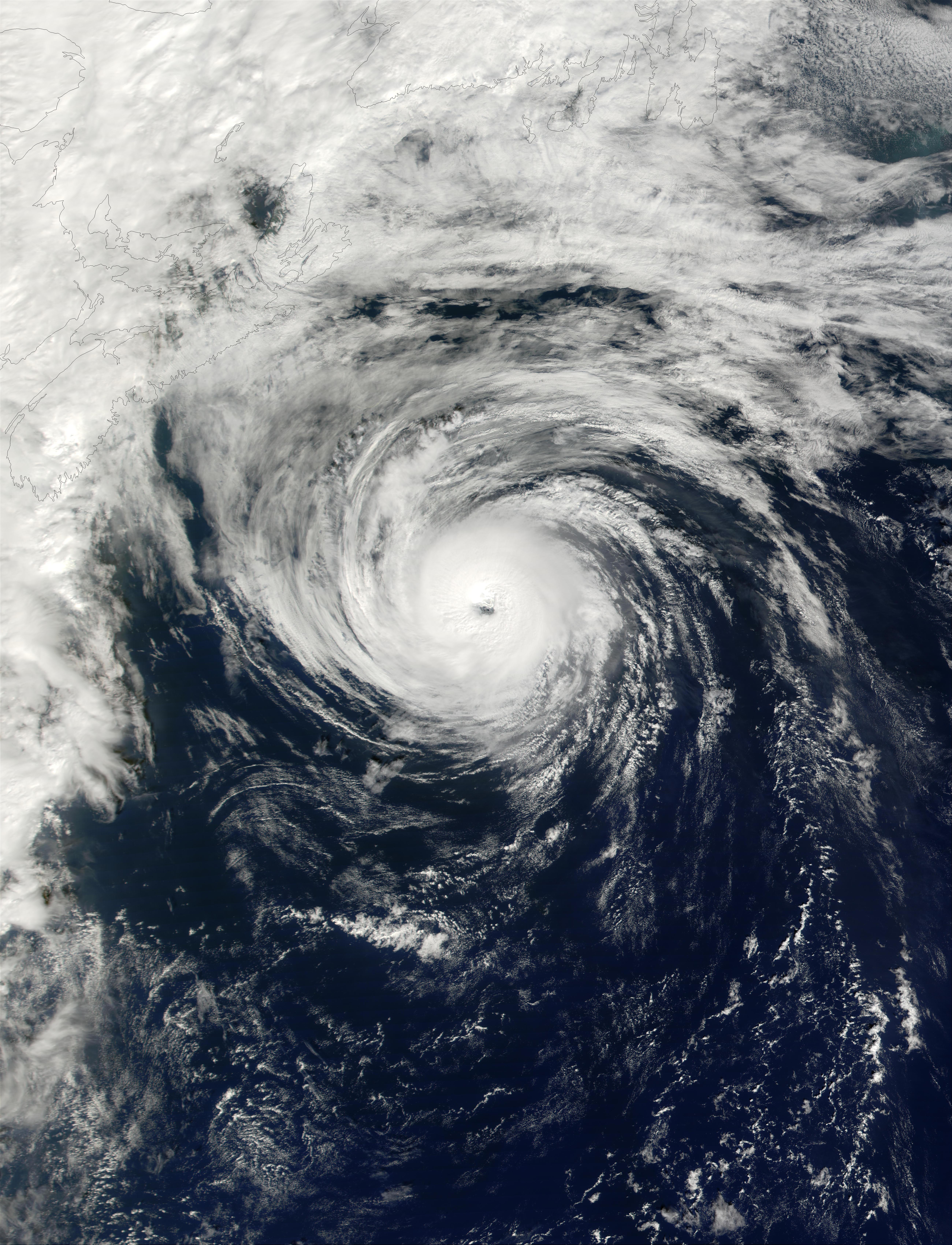 Hurricane Humberto southeast of Nova Scotia, Canada