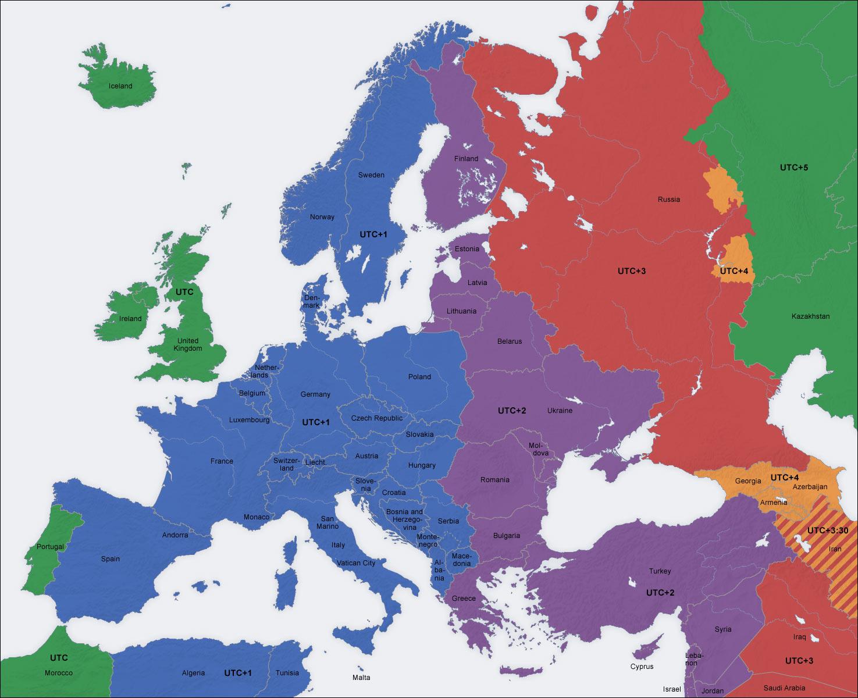 Europe time zones 2004