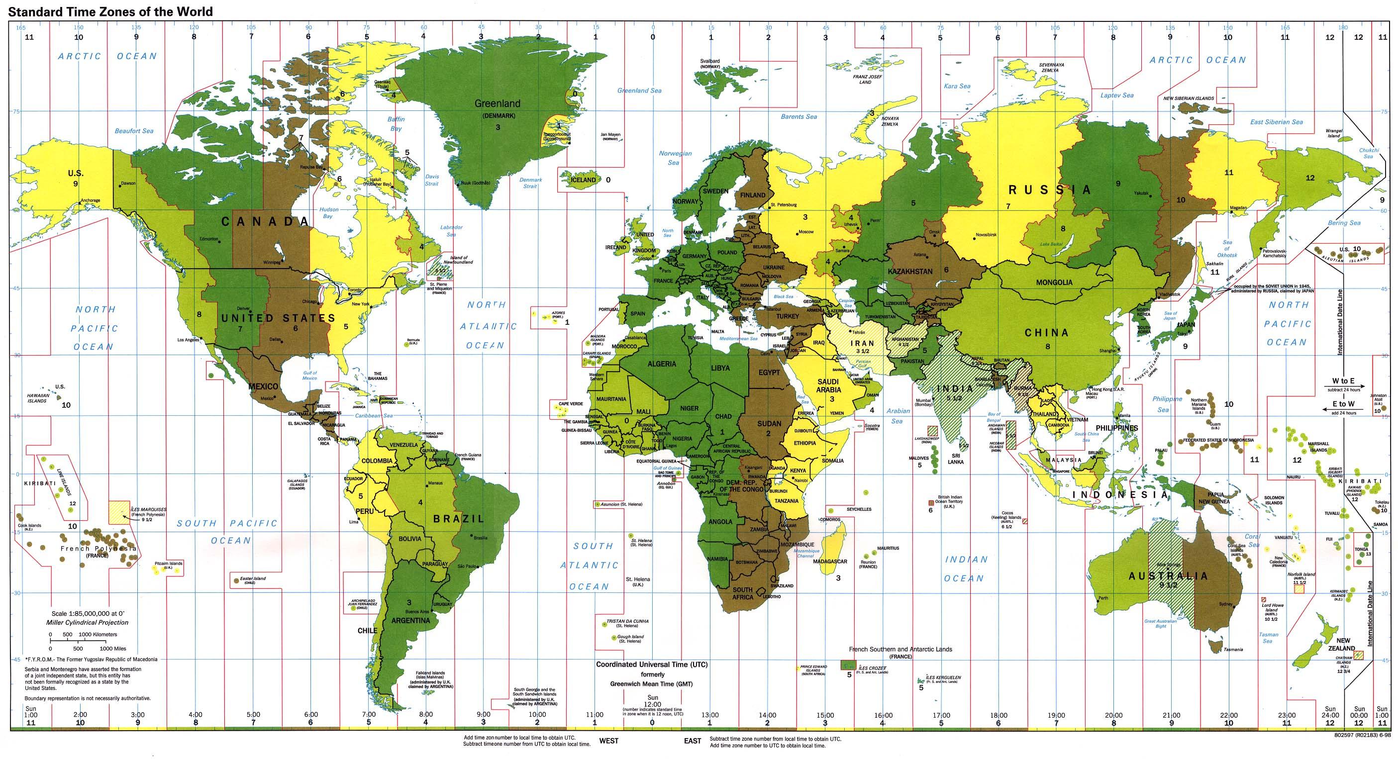 Husos horarios o zonas horarias en el Mundo