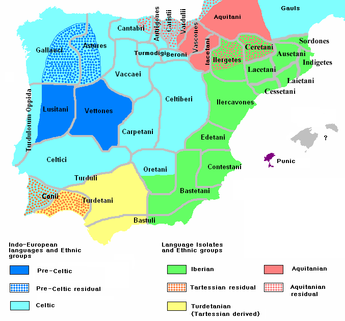 Idiomas hablados en la Peninsula Ibérica hacia el 200 aC