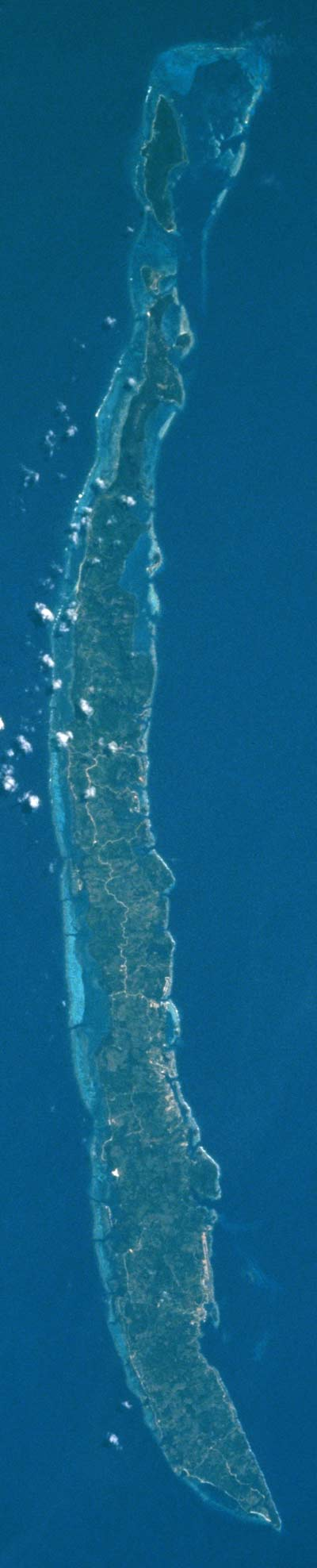 Satellite Image, Photo of Roatan Island, Bay Islands Department, Honduras