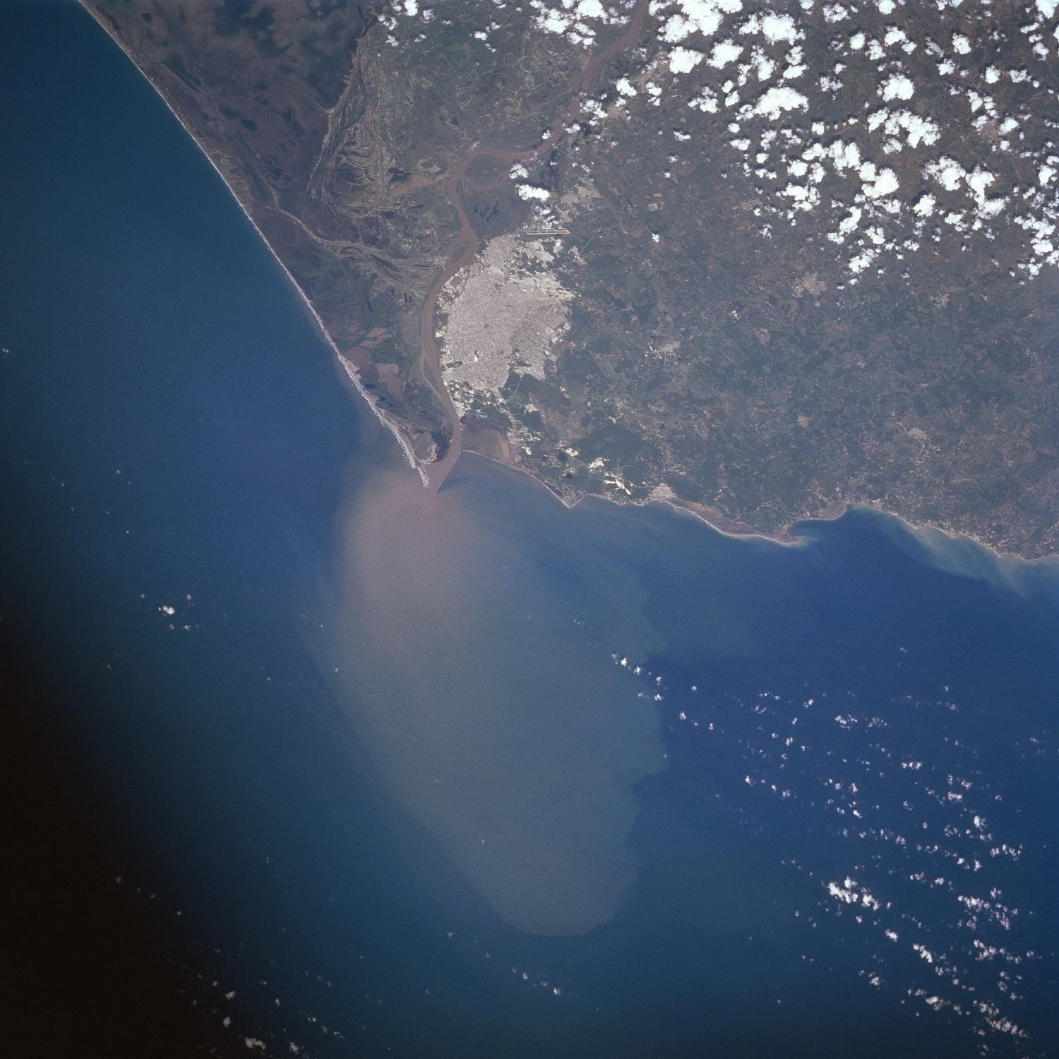 Satellite Image, Photo of Barranquilla, Magdalena River Mouth, Colombia