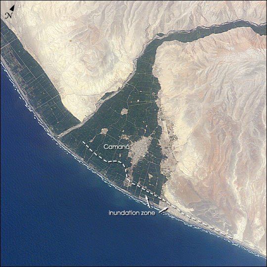 Imagen, Foto Satelite de Camana, Sur de Peru