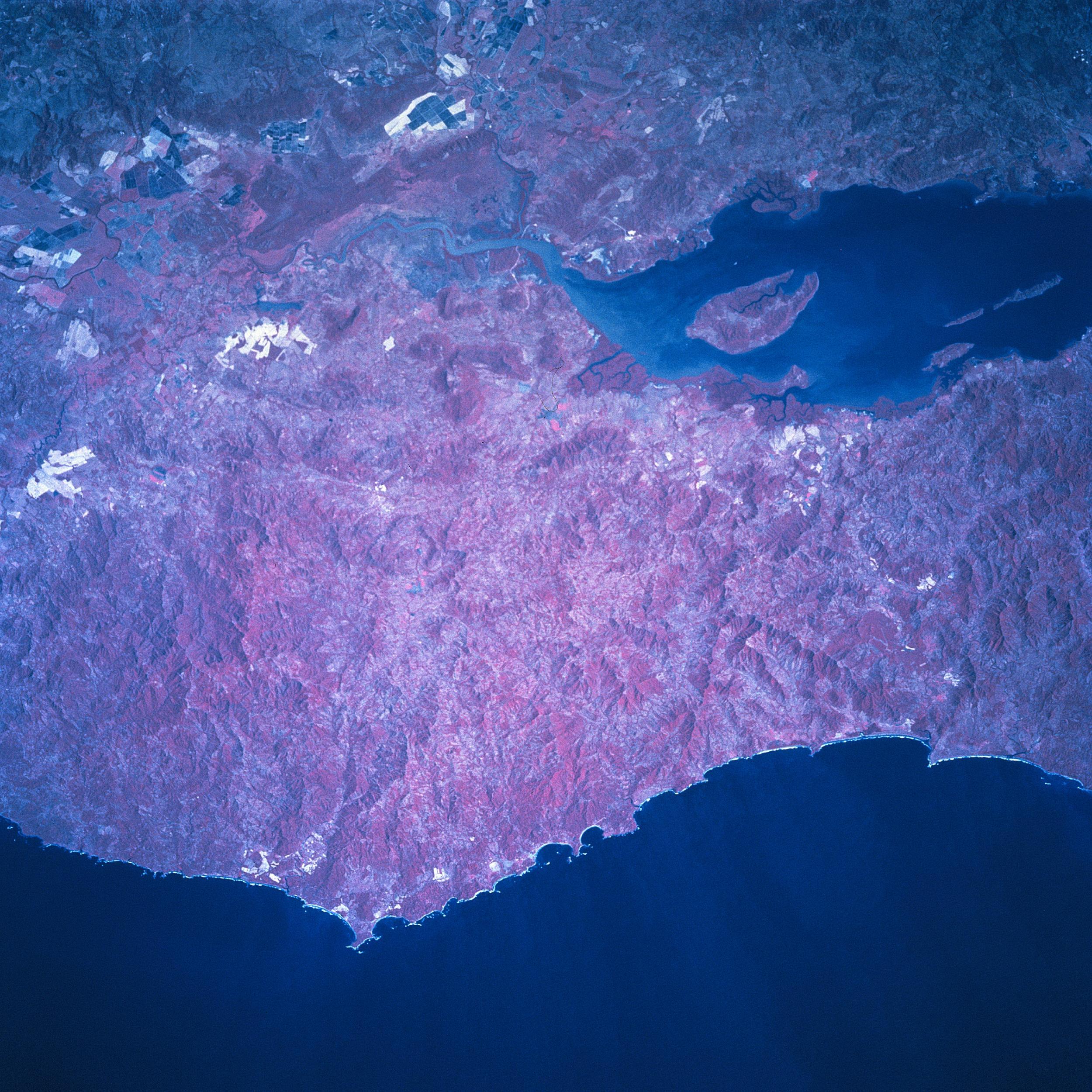 Imagen, Foto Satelite de Montañas del Golfo y de la Peninsula de Nicoya Norte, Costa Rica