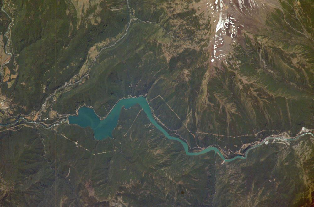Satellite Image, Photo of Pangue Dam, Bíobío River, Chile