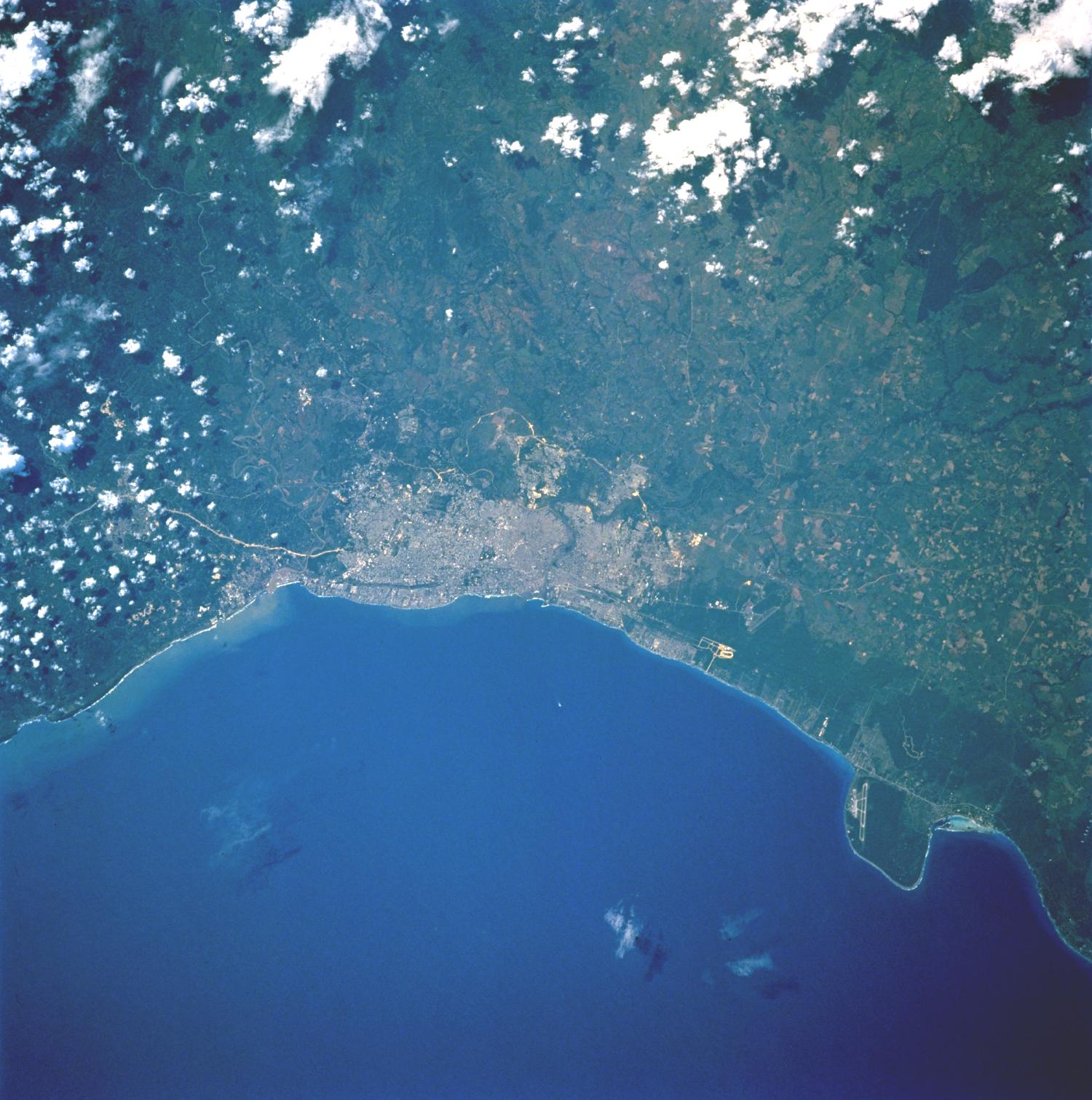 Satellite Image, Photo of Santo Domingo de Guzmán, Dominican Republic