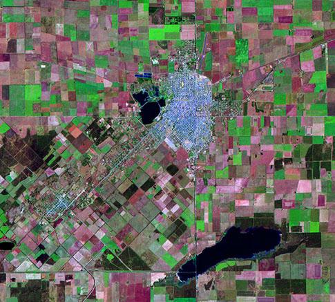 Satellite Image, Photo of Santa Rosa City, Prov. La Pampa, Argentina