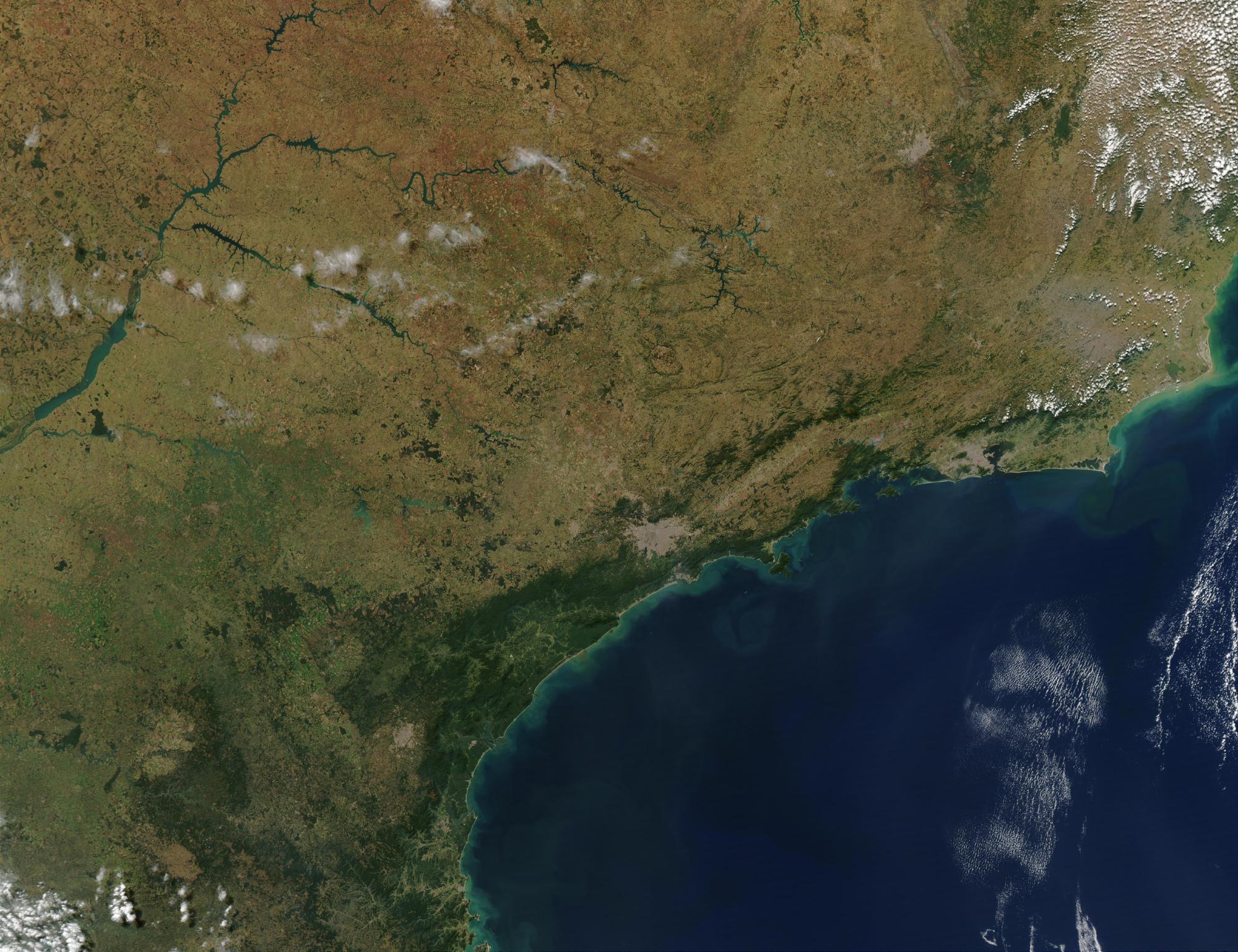 Imagen, Foto Satelite de la Ciudad de Sao Paulo y Rio de Janeiro, Brasil