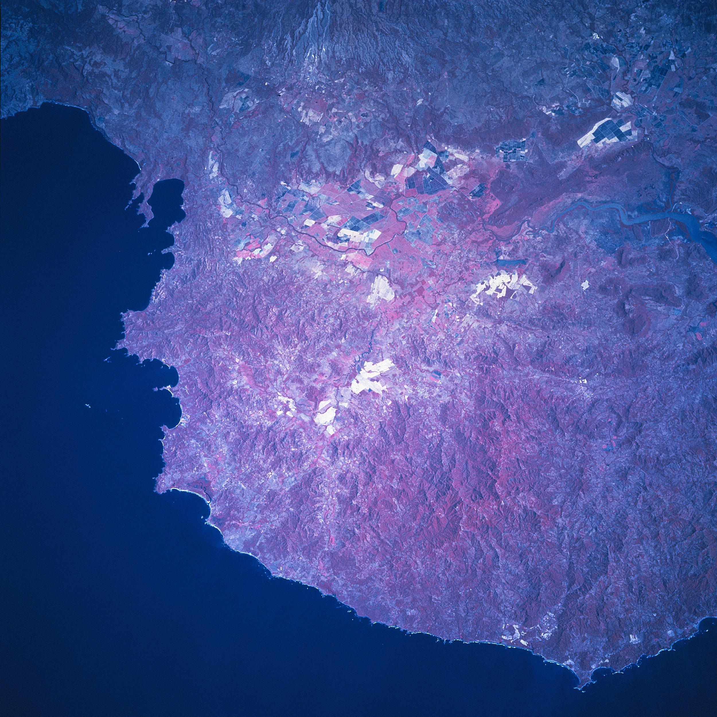 Satellite Image, Photo of the Tempisque River Basin, Costa Rica