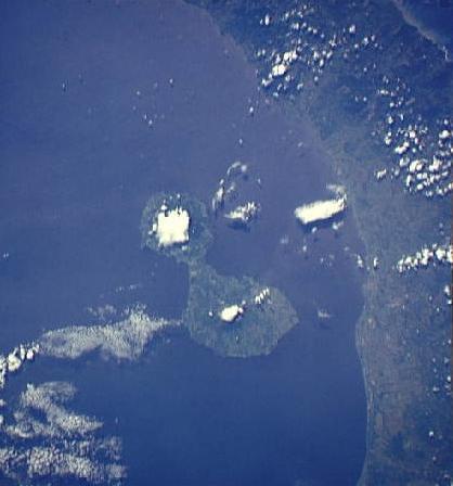 Satellite Image, Photo of Ometepe Island, Nicaragua