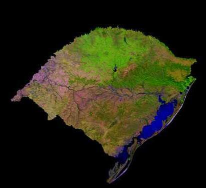 Imagen, Foto Satelite del Estado de Rio Grande do Sul, Brasil