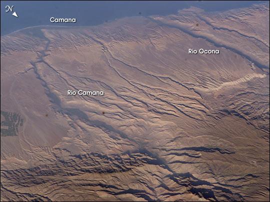 Imagen, Foto Satelite del Rio Camana y del Rio Ocona, Peru