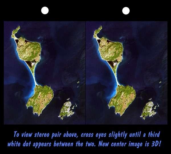 Imagen Satelite Estereoscopica de las Islas San Pedro y Miquelon (Francia)