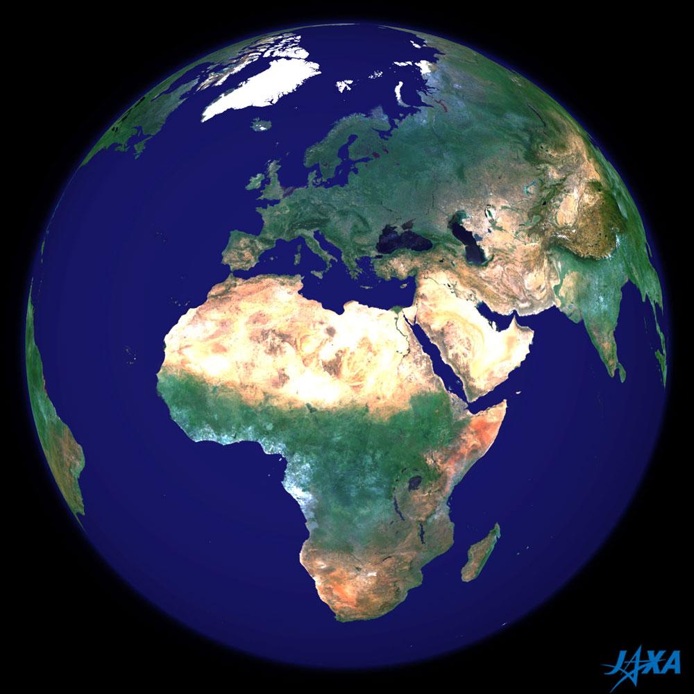 Imagen esférica de la tierra centrada en África