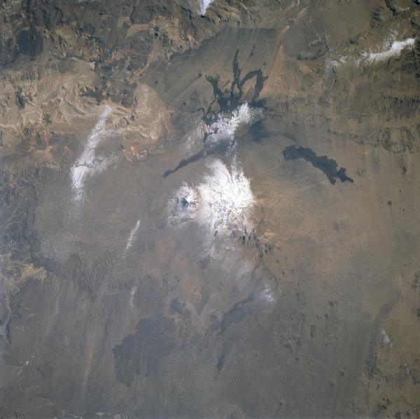 Satellite Image, Photo of Payun Volcano and Peaks, Argentina