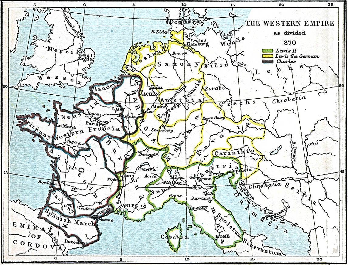 Imperio Carolingio tras el tratado de Mersen 870