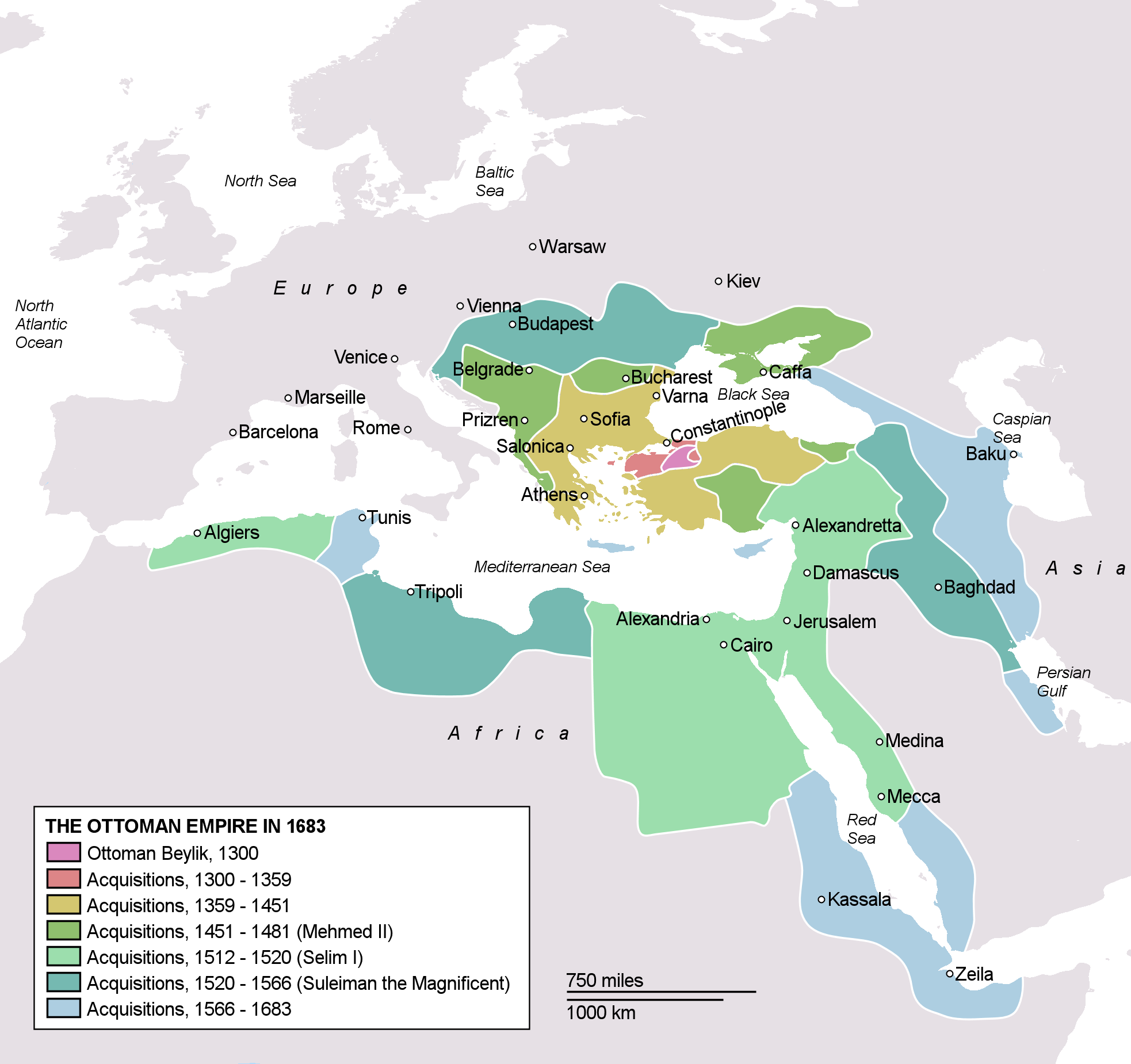 Ottoman Empire at its greatest extent 1683
