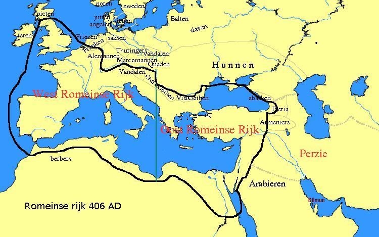 Imperios romanos de Occidente y Oriente 406 dC