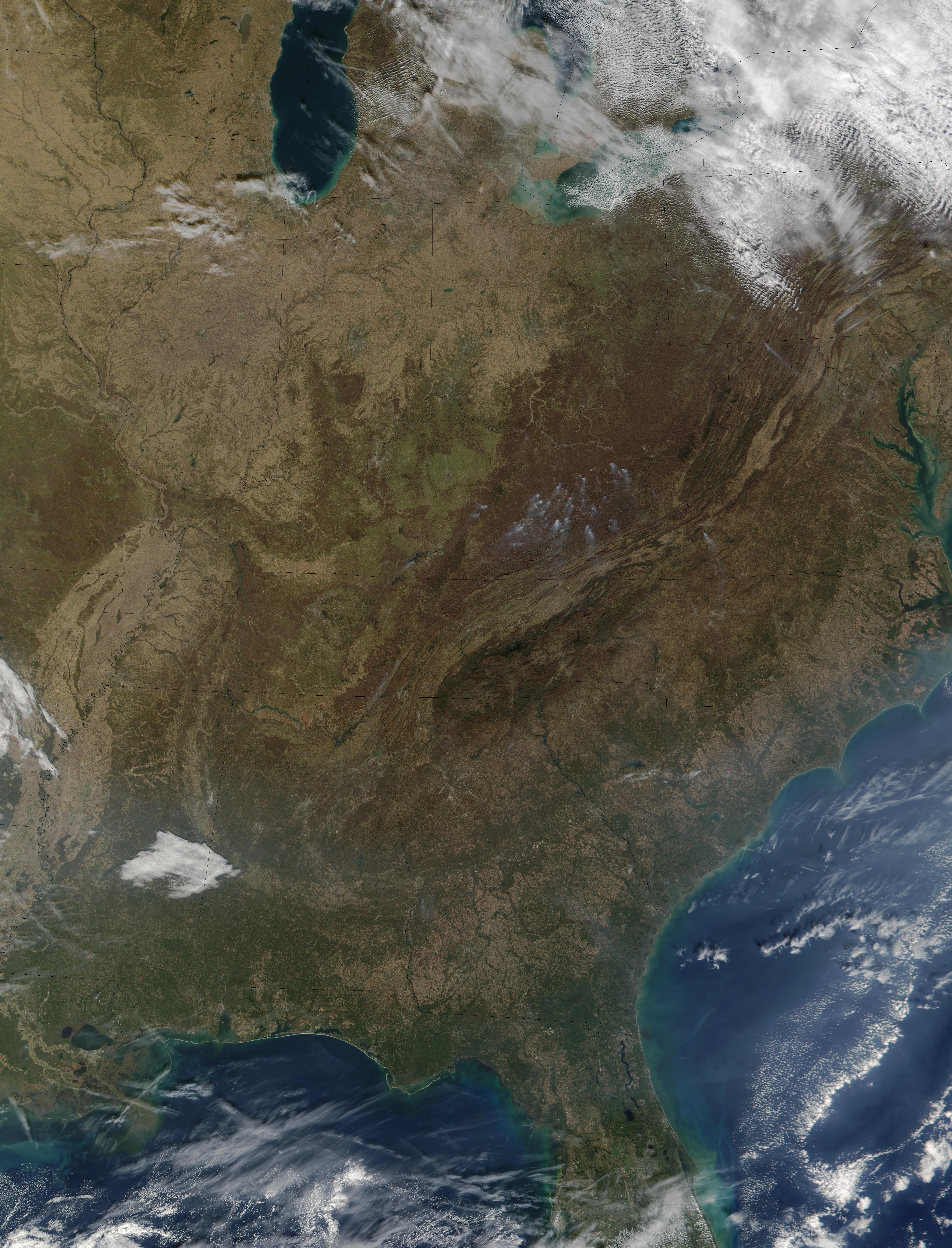Incendio forestal en Estados Unidos oriental