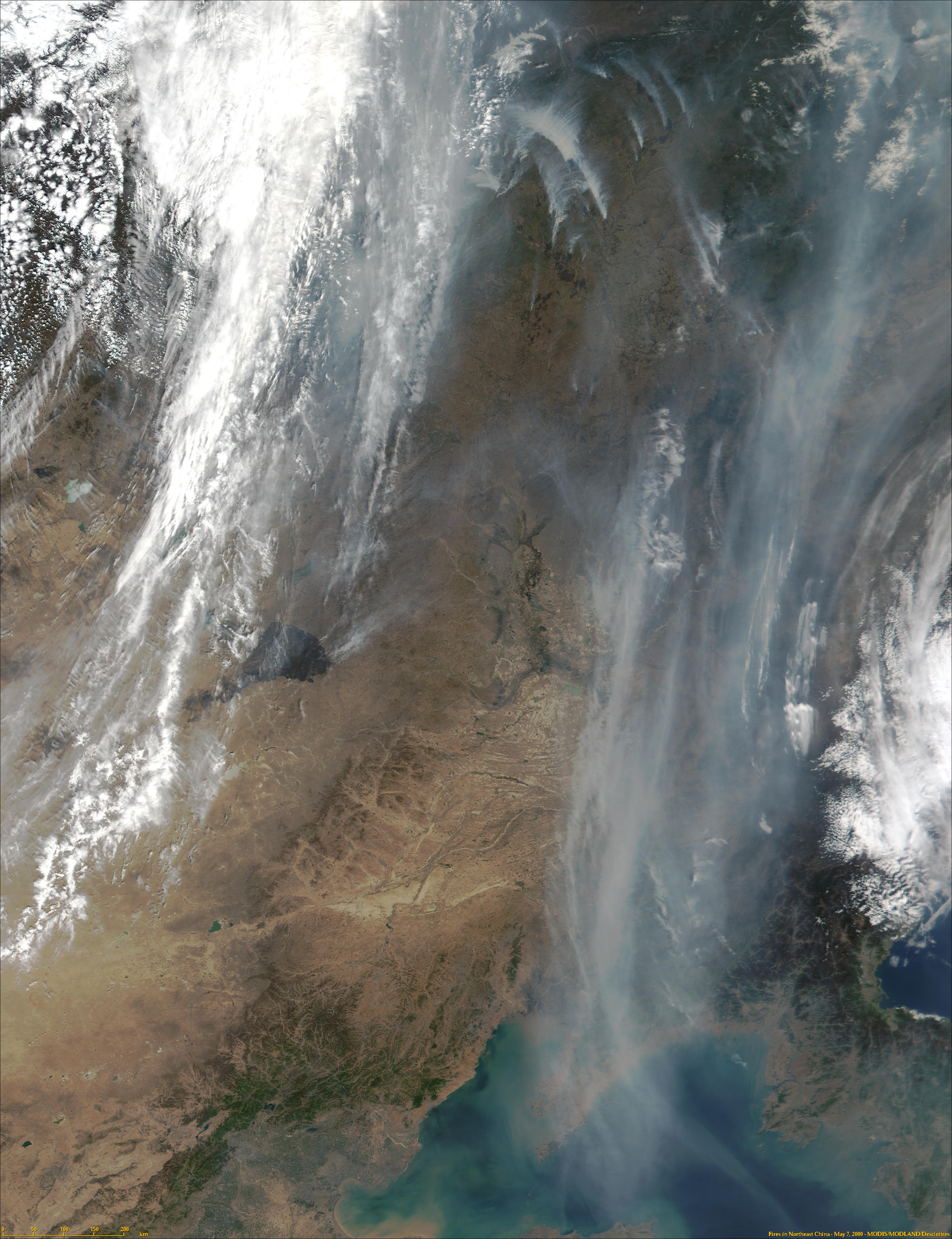 Fires in Northeast China from MODIS