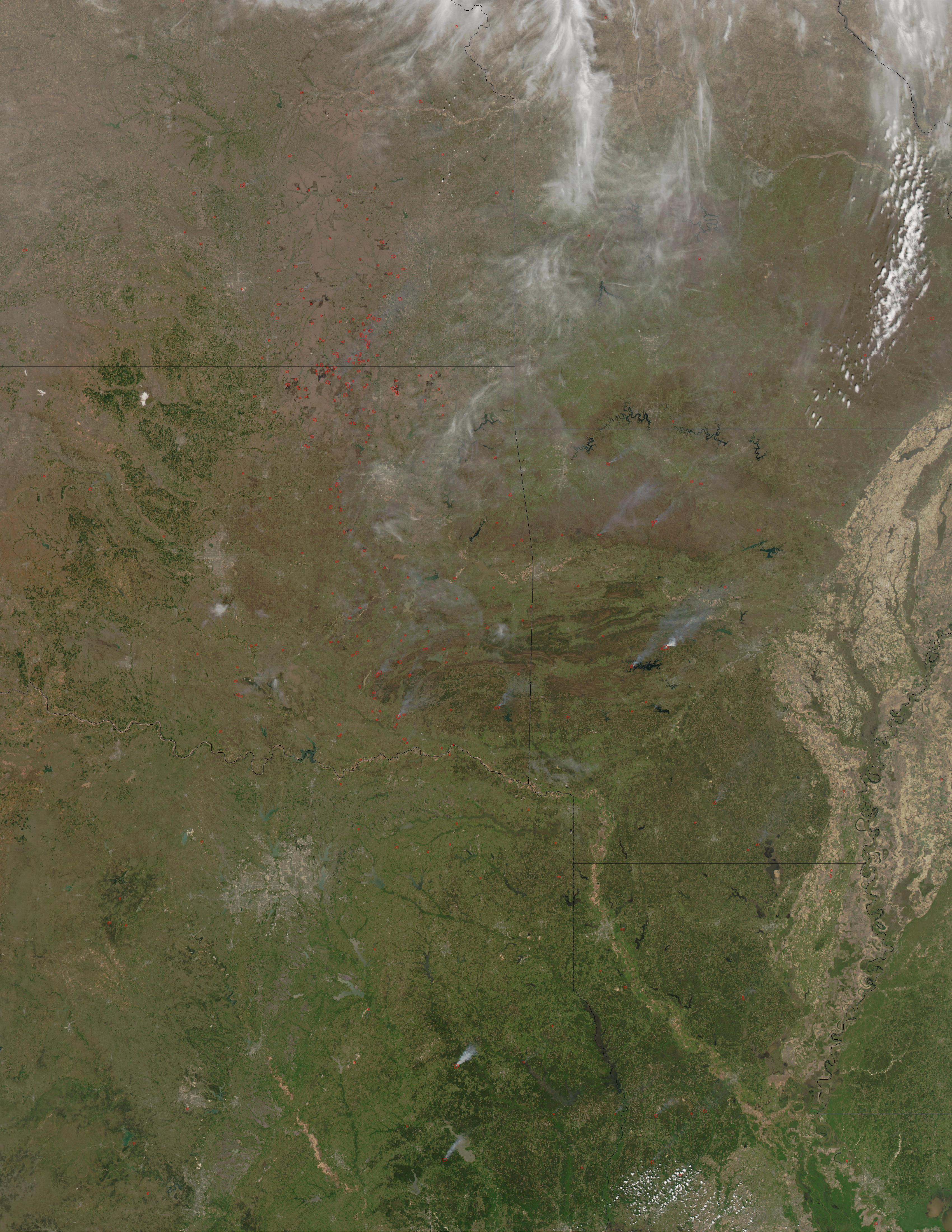 Incendios en el centro-sur de Estados Unidos