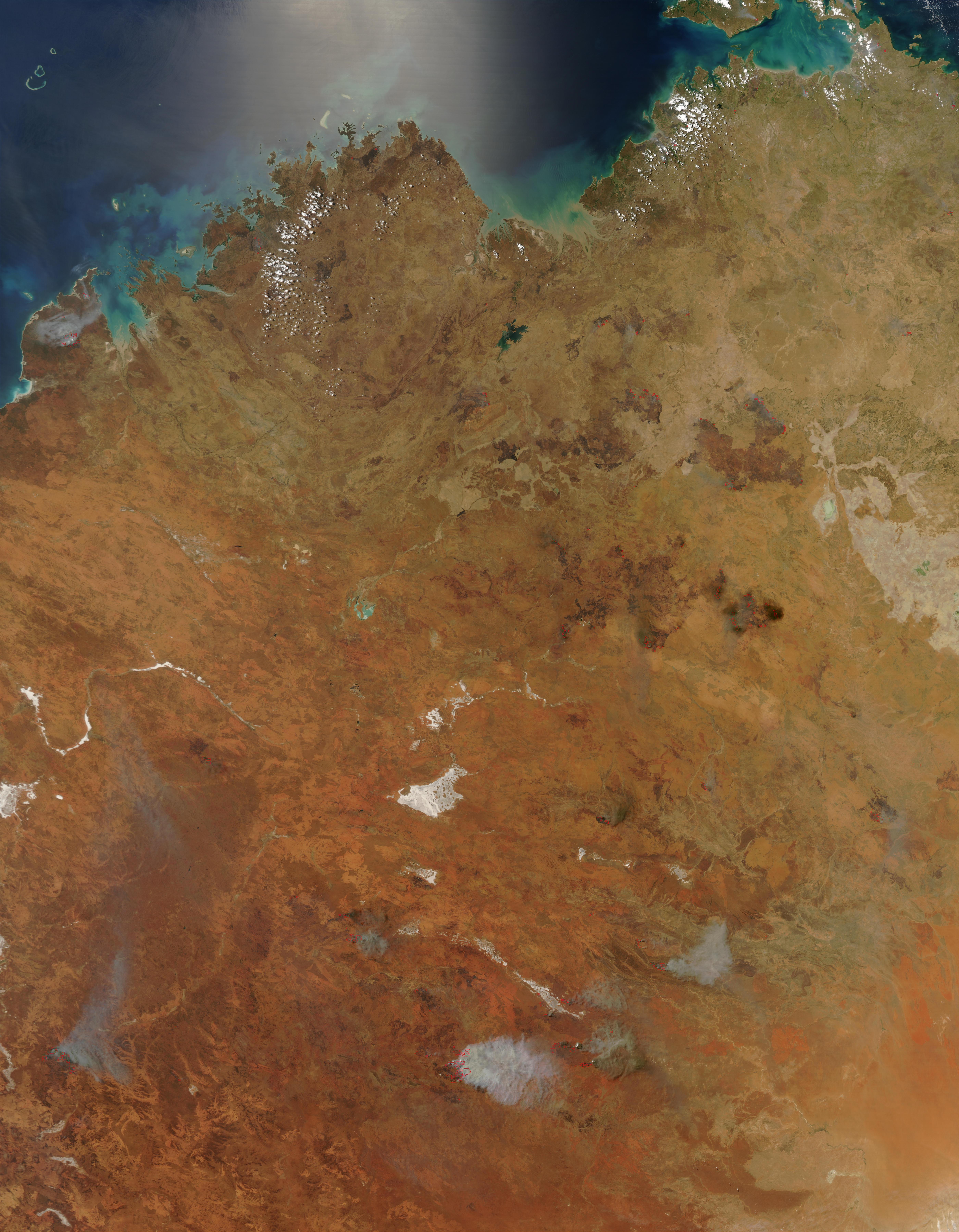 Incendios en el norte y centro de Australia