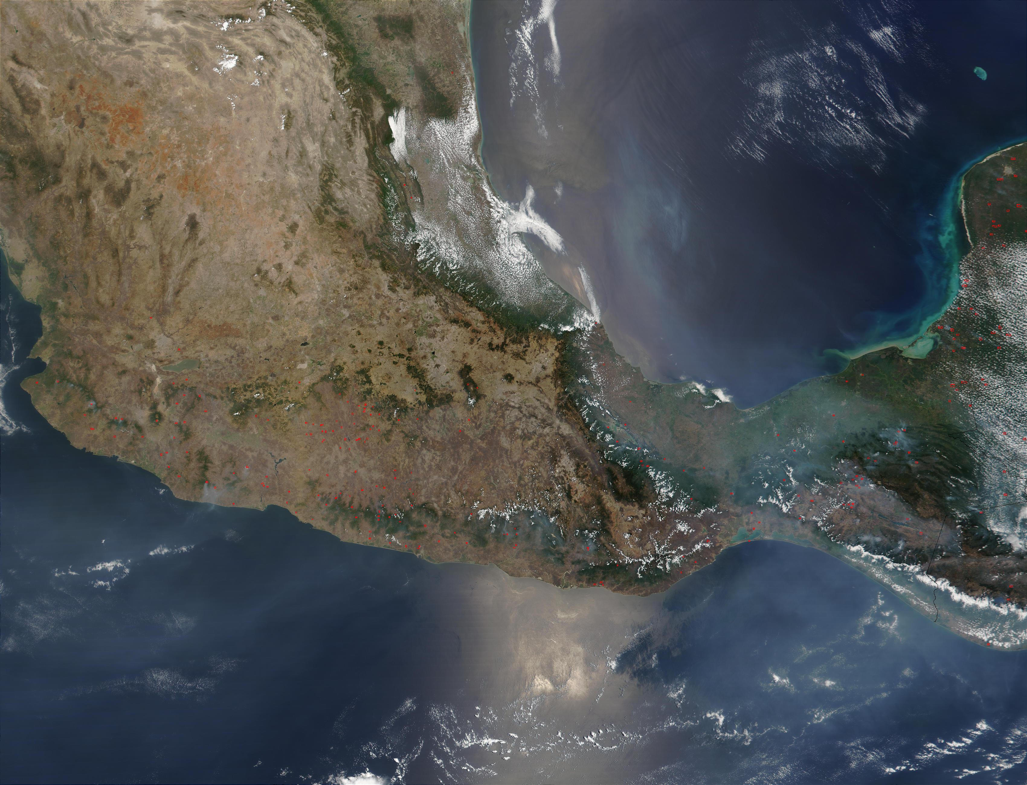 Incendios en el sur de México y la Península de Yucatán