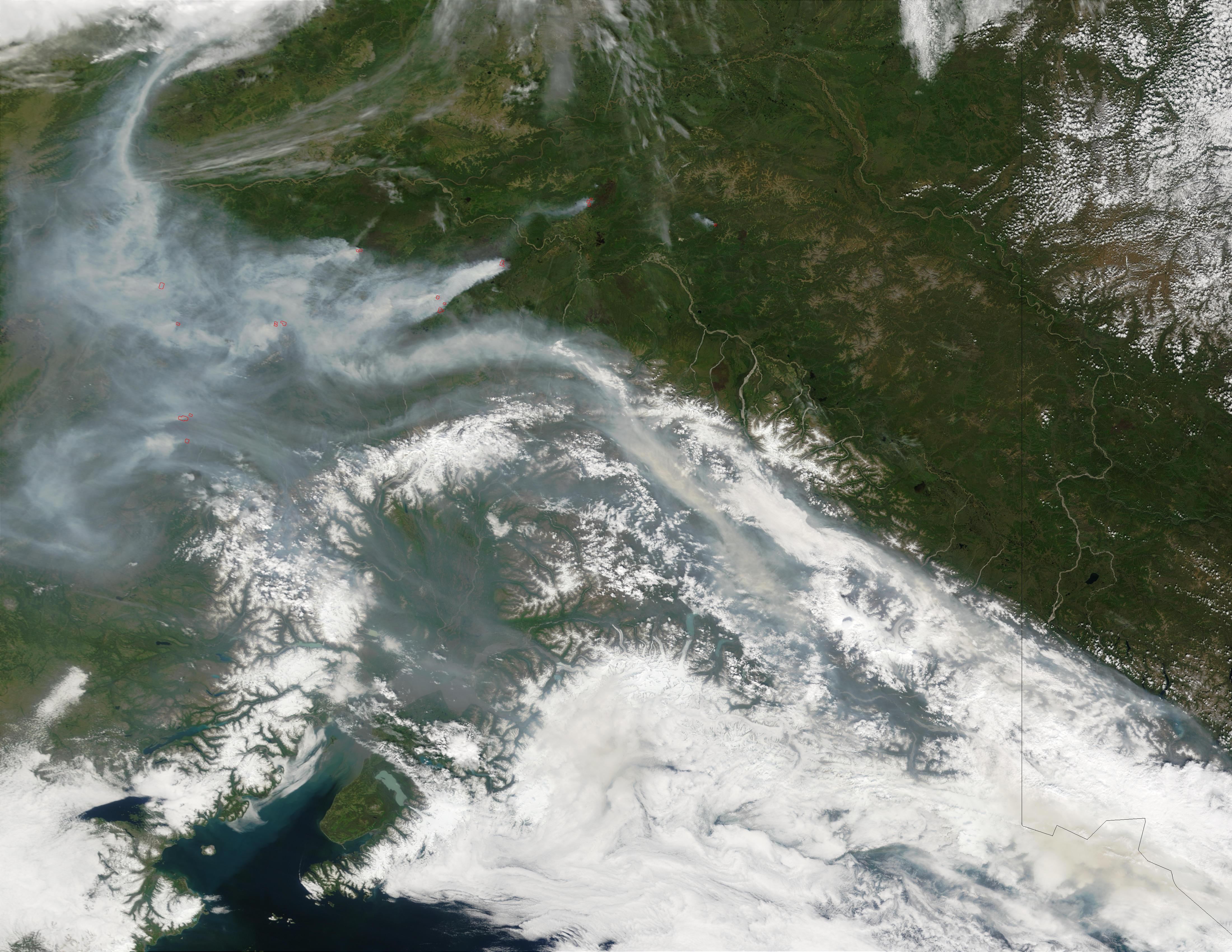 Incendios forestales y humo en Alaska central