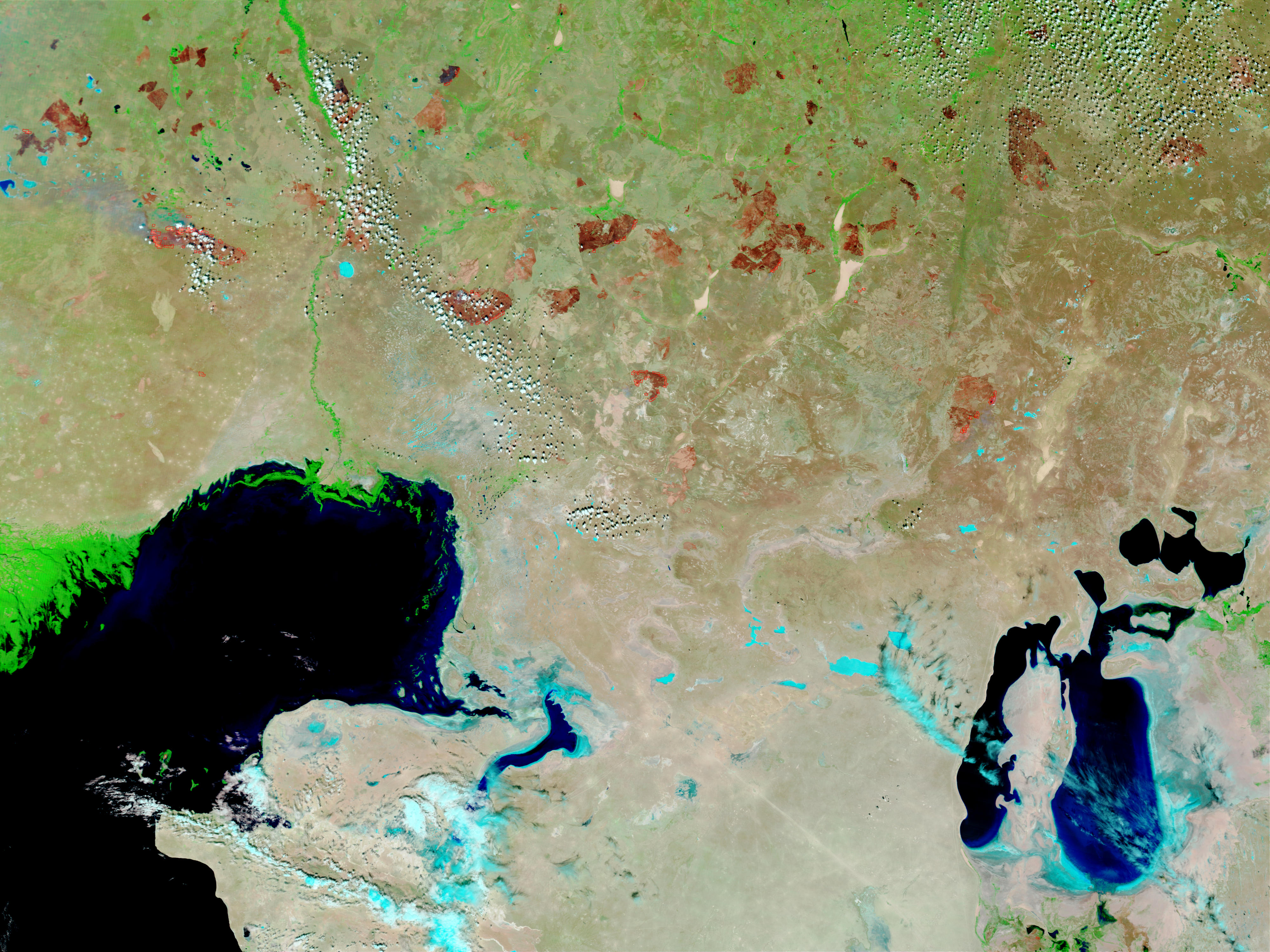 Fires and burn scars in Kazakhstan