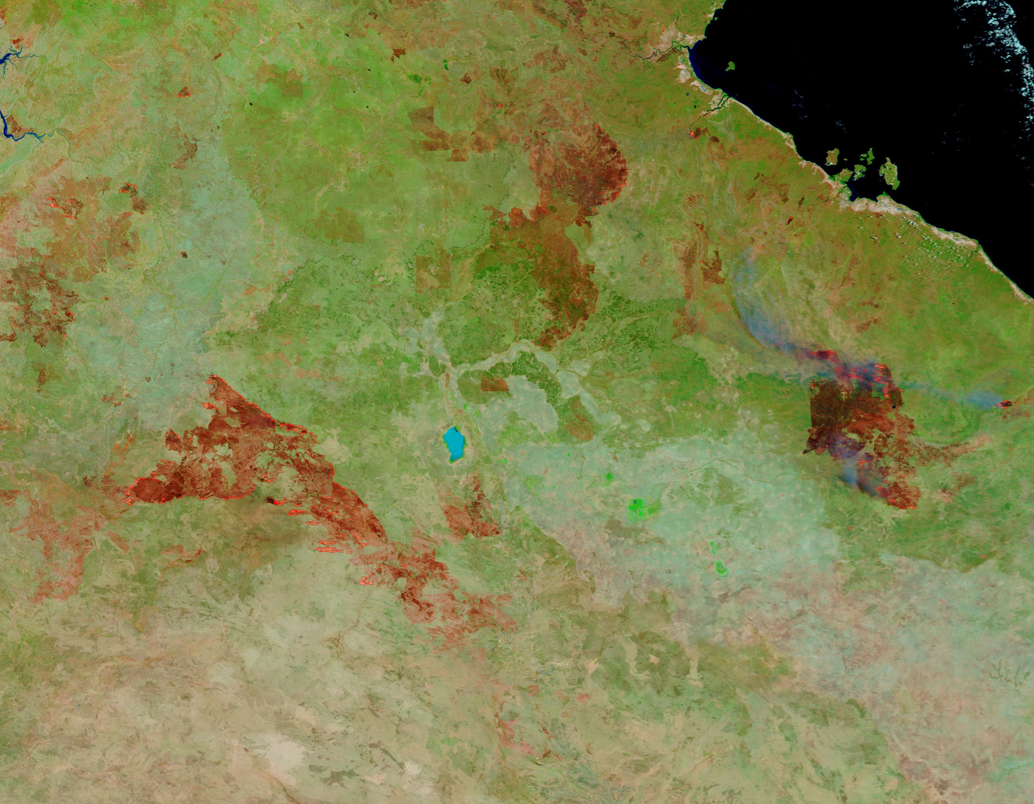 Incendios y cicatrices de los Incendios en el Norte Australia (falso color)