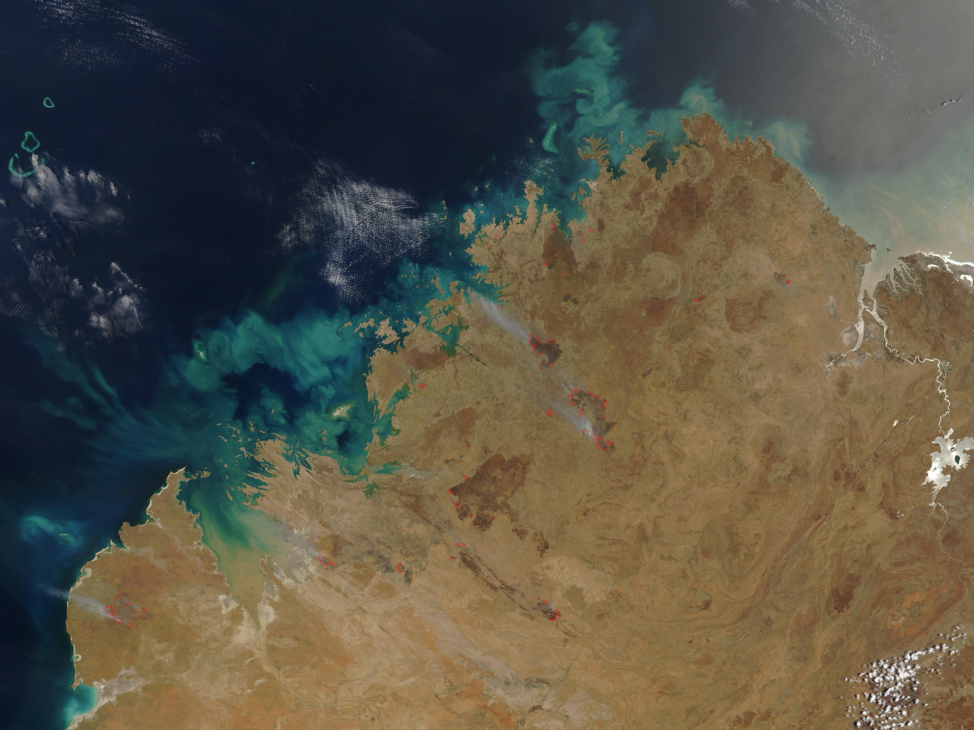 Fires and burn scars in northern Western Australia