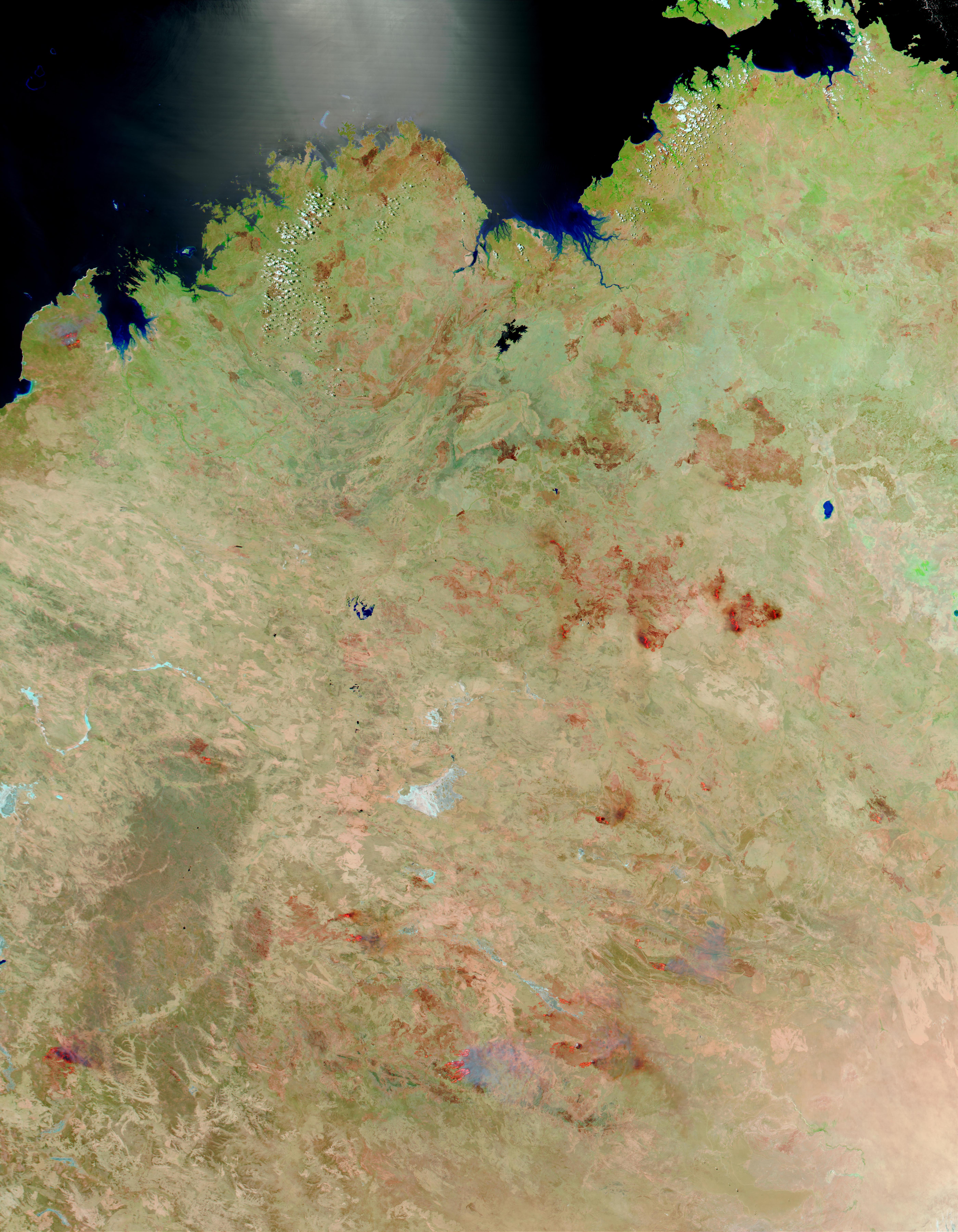 Incendios y cicatrices de los Incendios en el norte y centro de Australia
