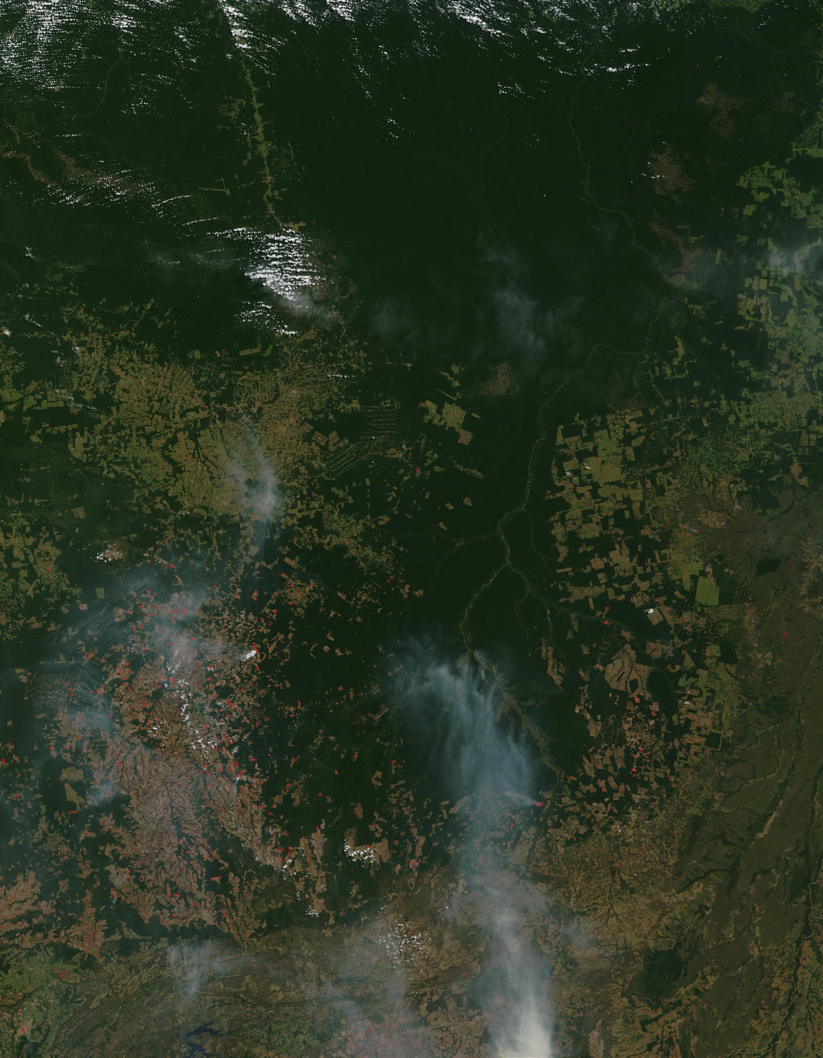 Fires and smoke around the upper Xingu River, Brazil