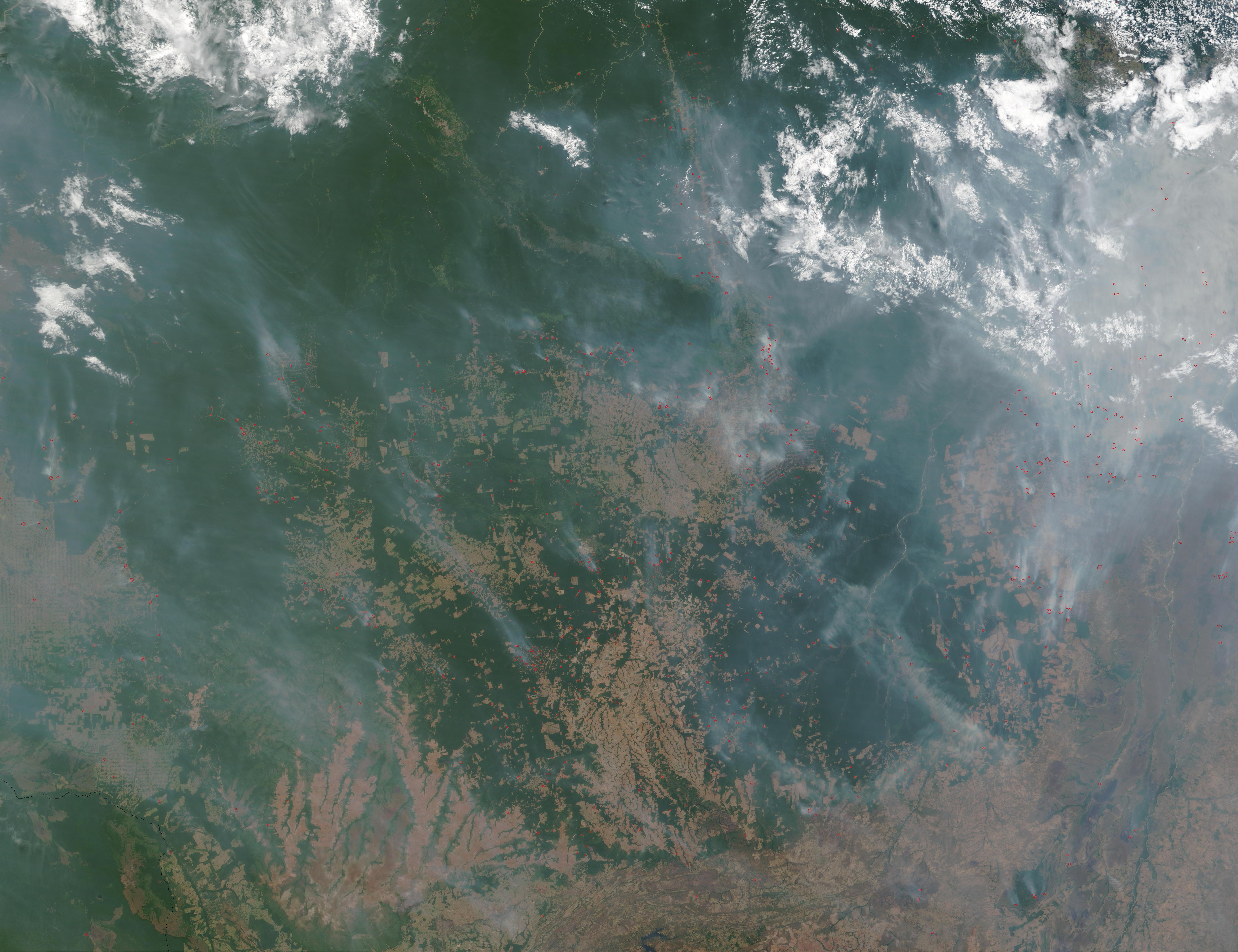 Incendios y humo en Mato Grosso, Brasil
