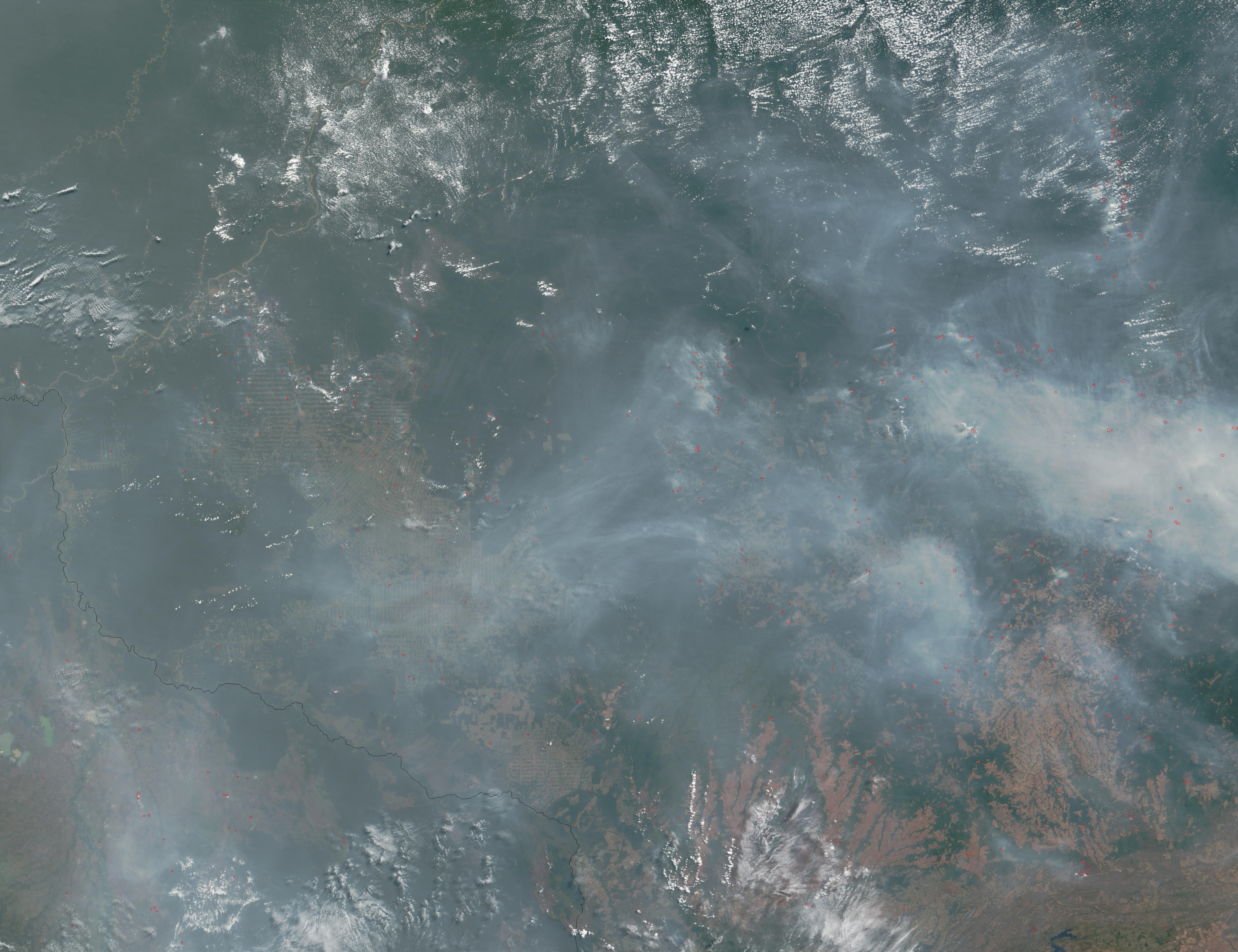 Fires and smoke in Mato Grosso and Rondonia, Brazil